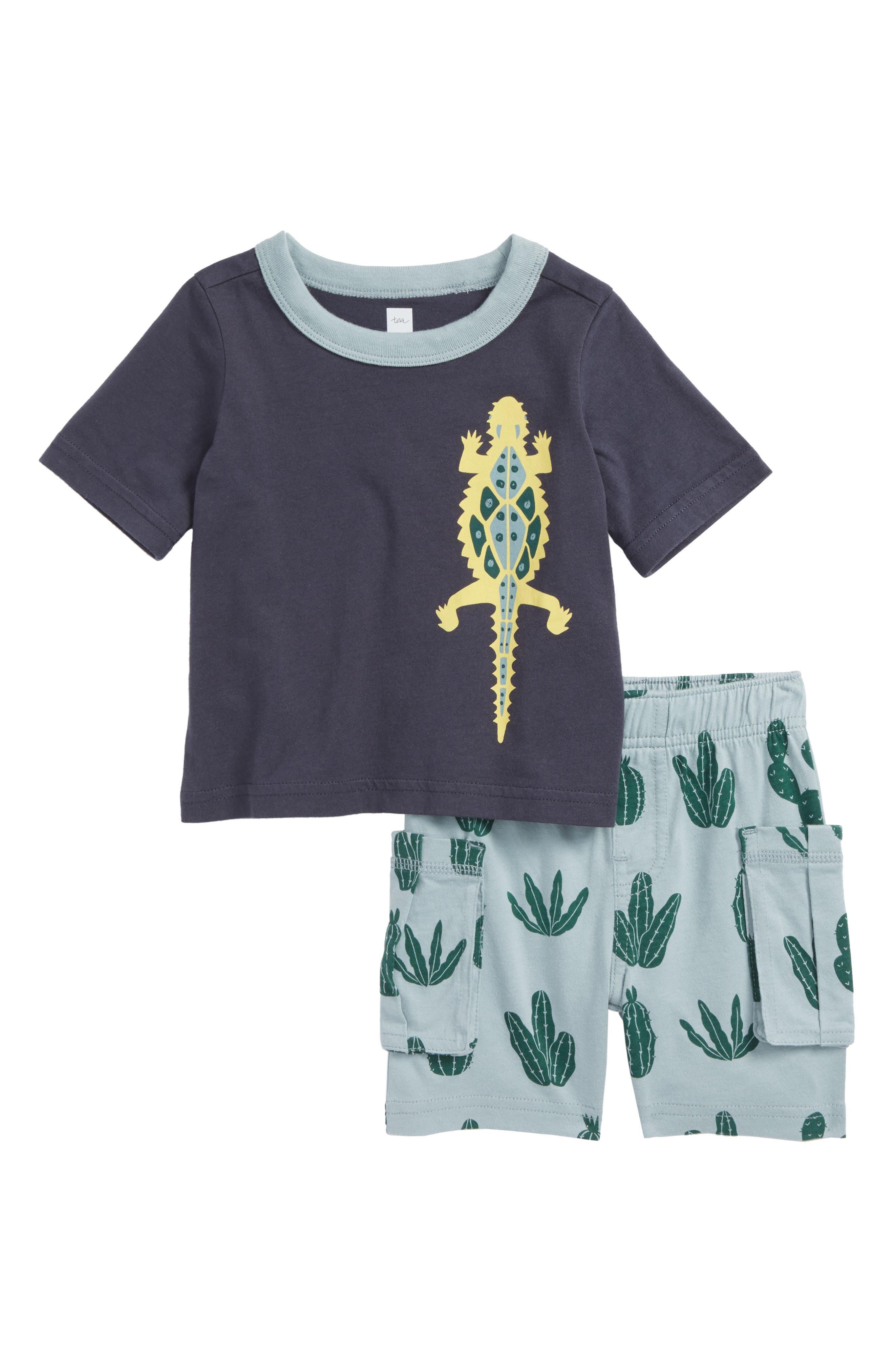 Desert Lizard T-Shirt & Cargo Shorts Set,                             Main thumbnail 1, color,                             Indigo