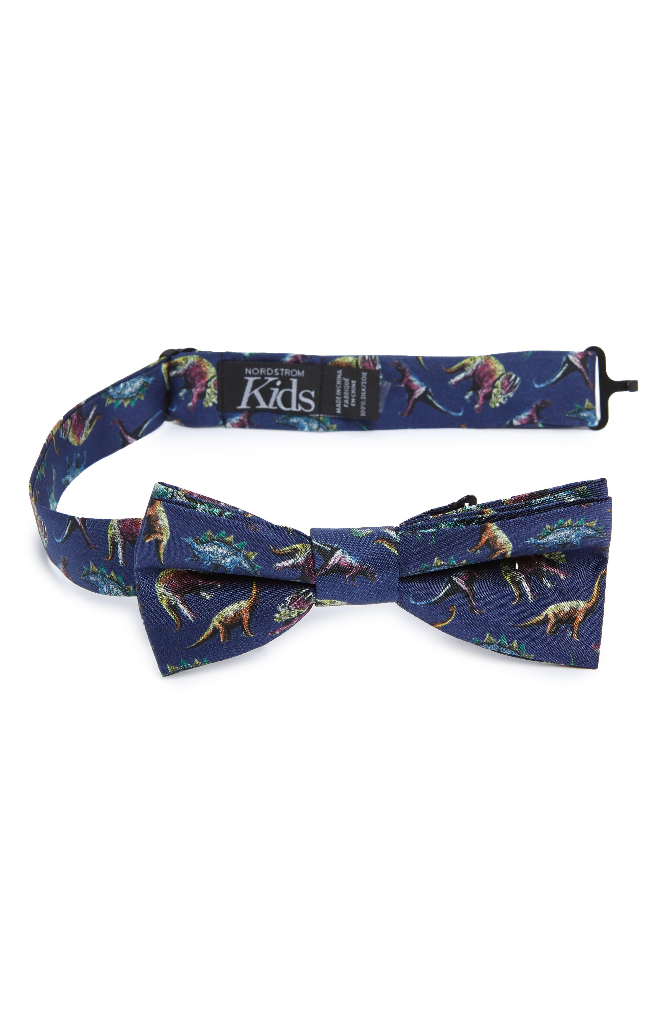Dinosaur Silk Bow Tie,                             Main thumbnail 1, color,                             Navy