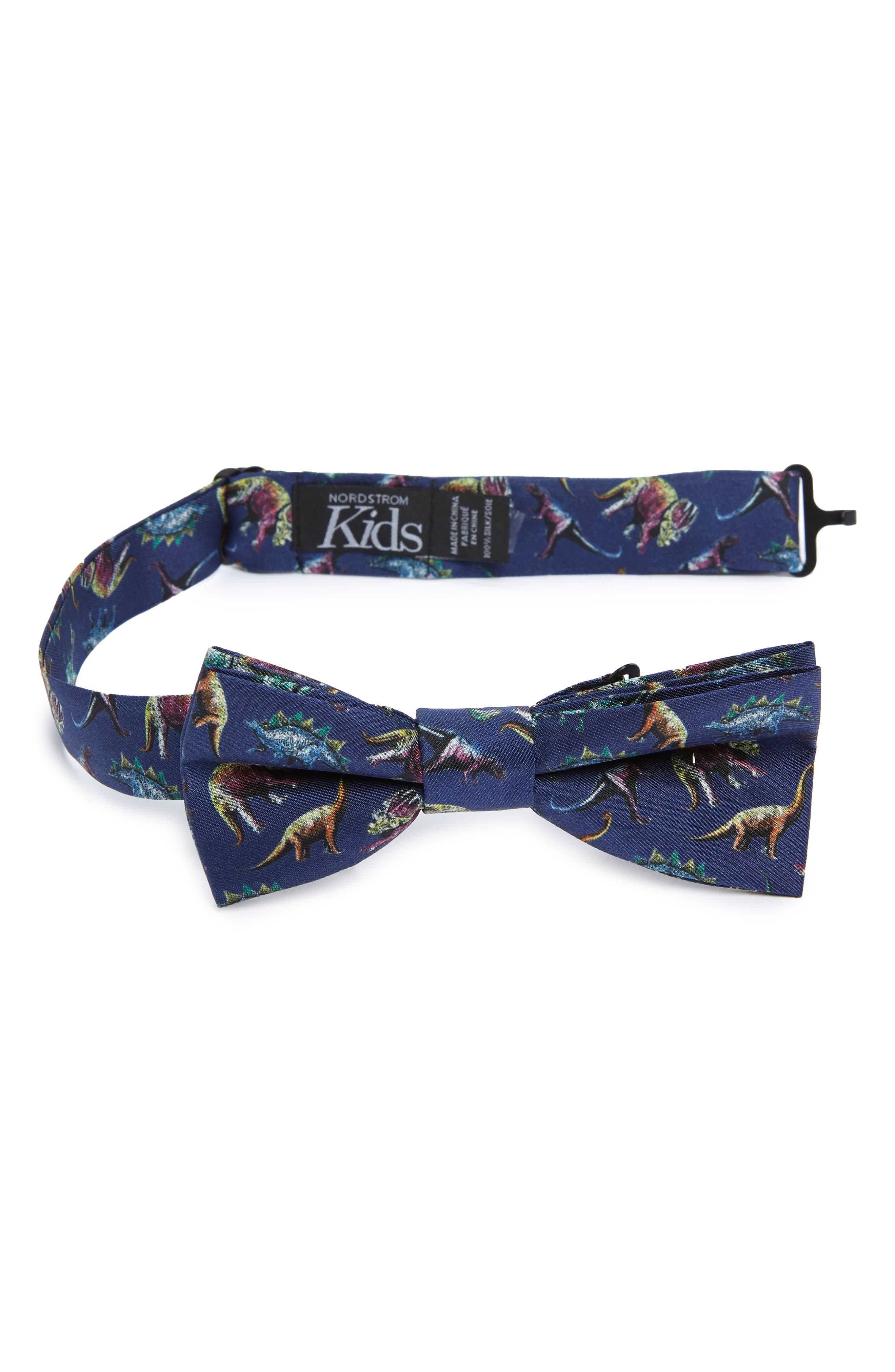 Dinosaur Silk Bow Tie,                         Main,                         color, Navy
