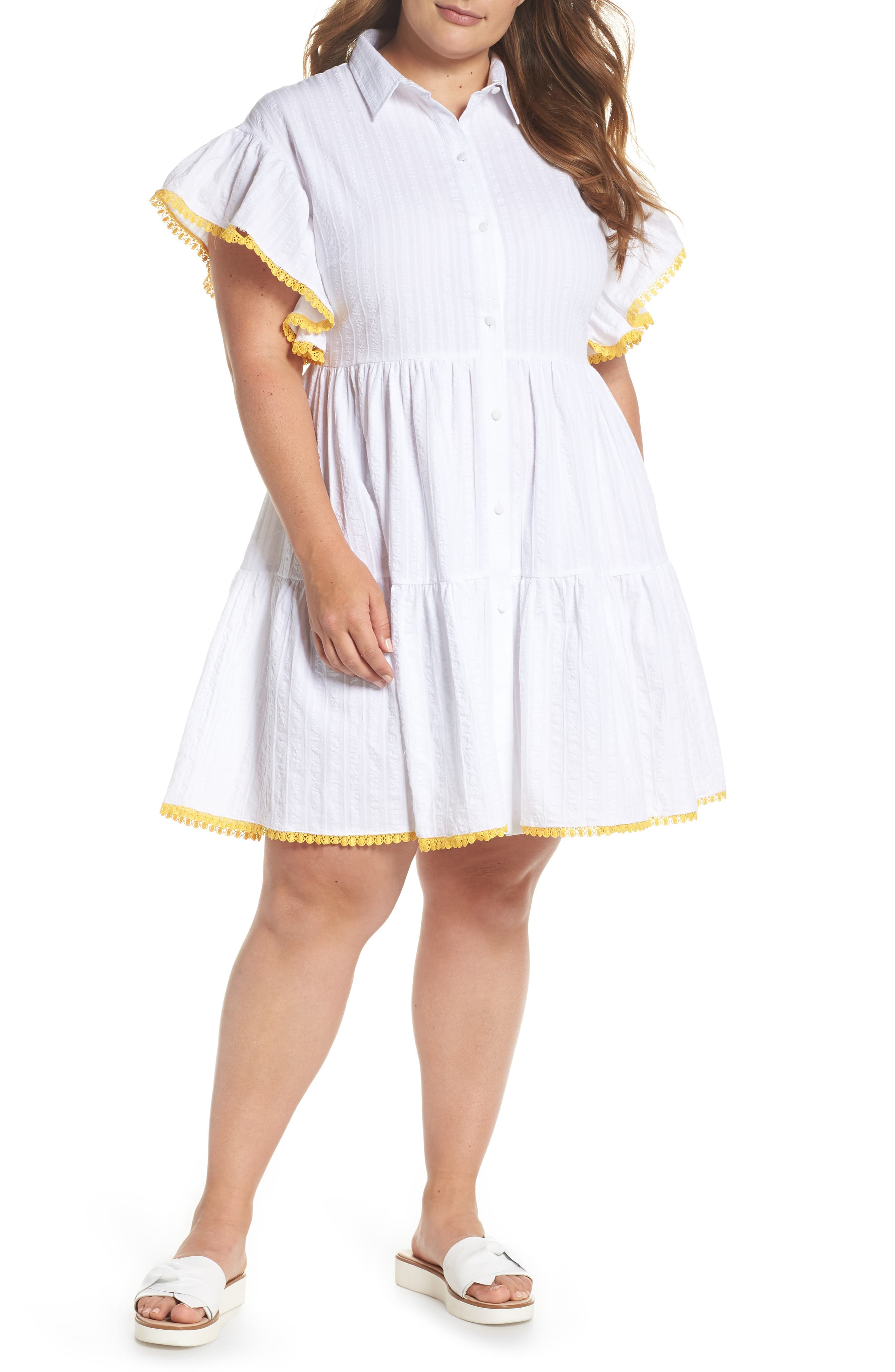Shirred Shirt Dress,                         Main,                         color, White