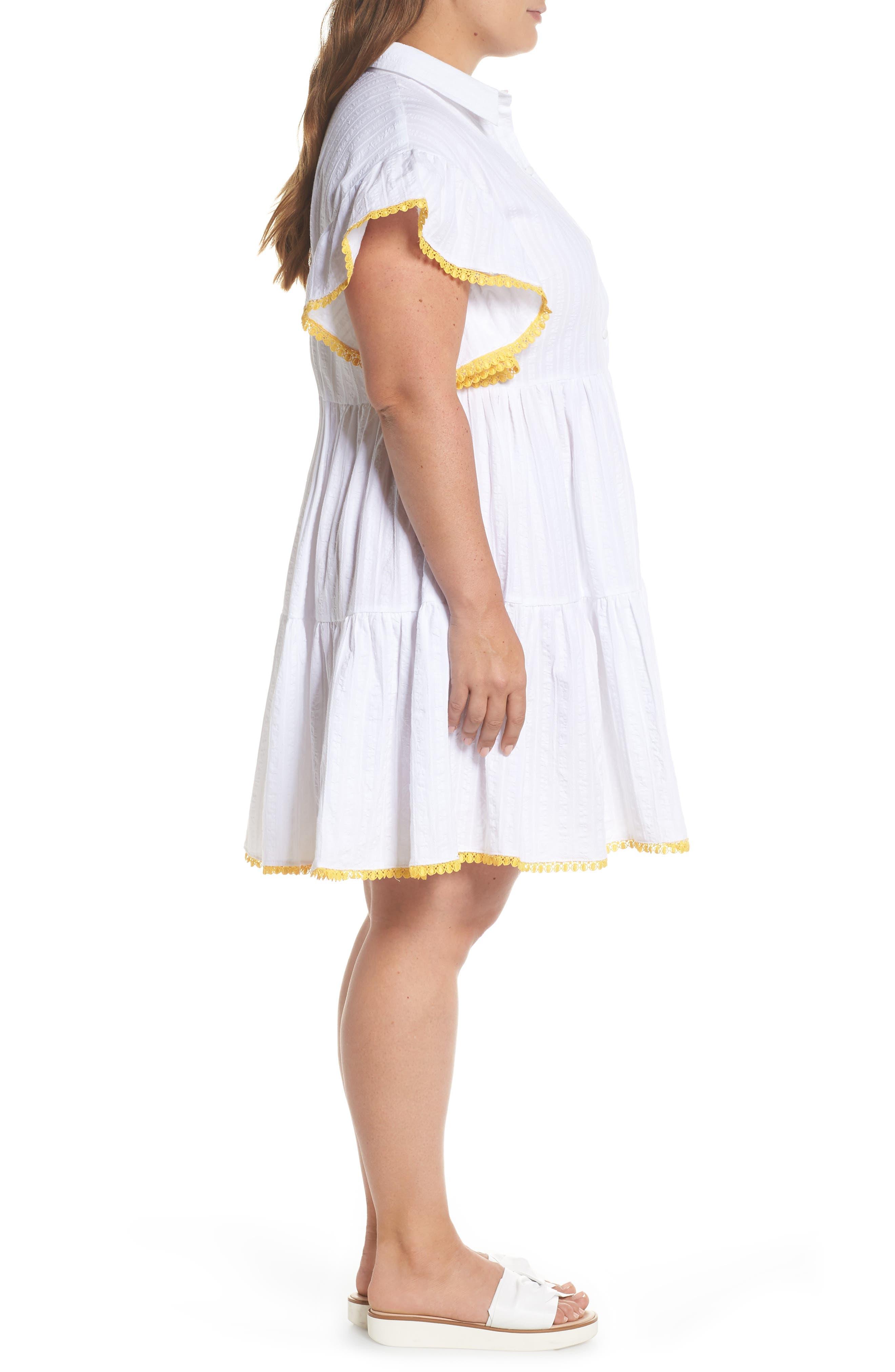 Shirred Shirt Dress,                             Alternate thumbnail 3, color,                             White