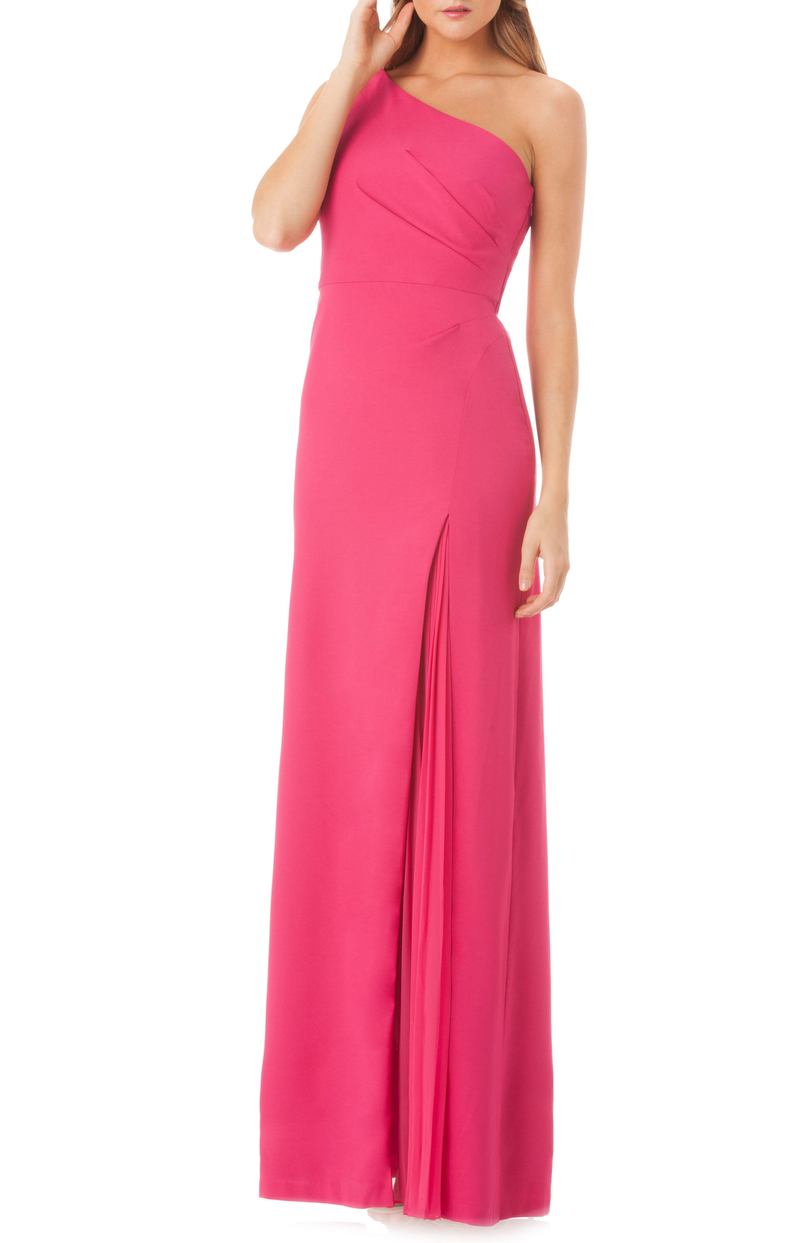 One-Shoulder Gown,                             Main thumbnail 1, color,                             Lipstick
