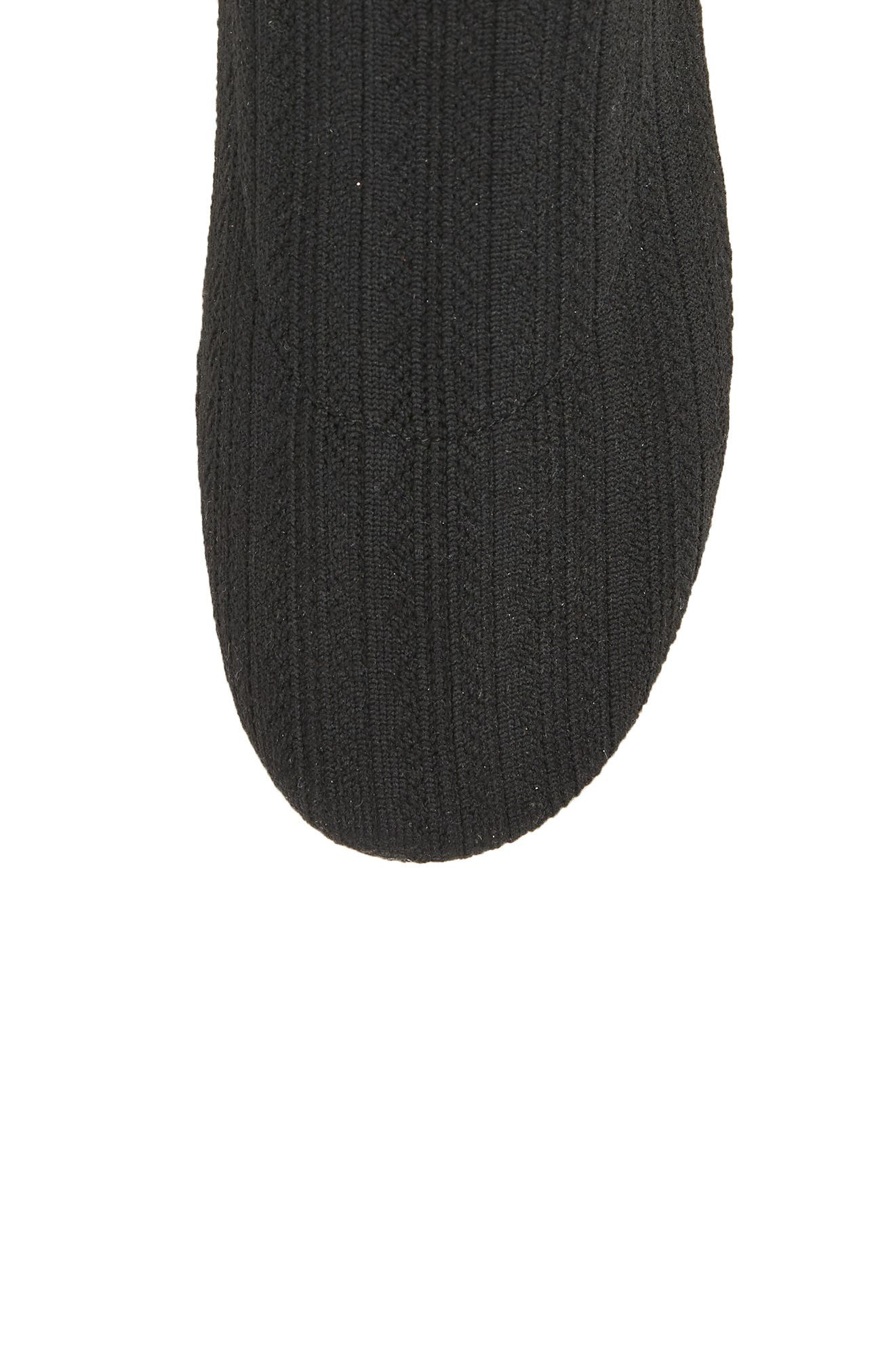 Bobby Sock Knit Sneaker,                             Alternate thumbnail 5, color,                             Black
