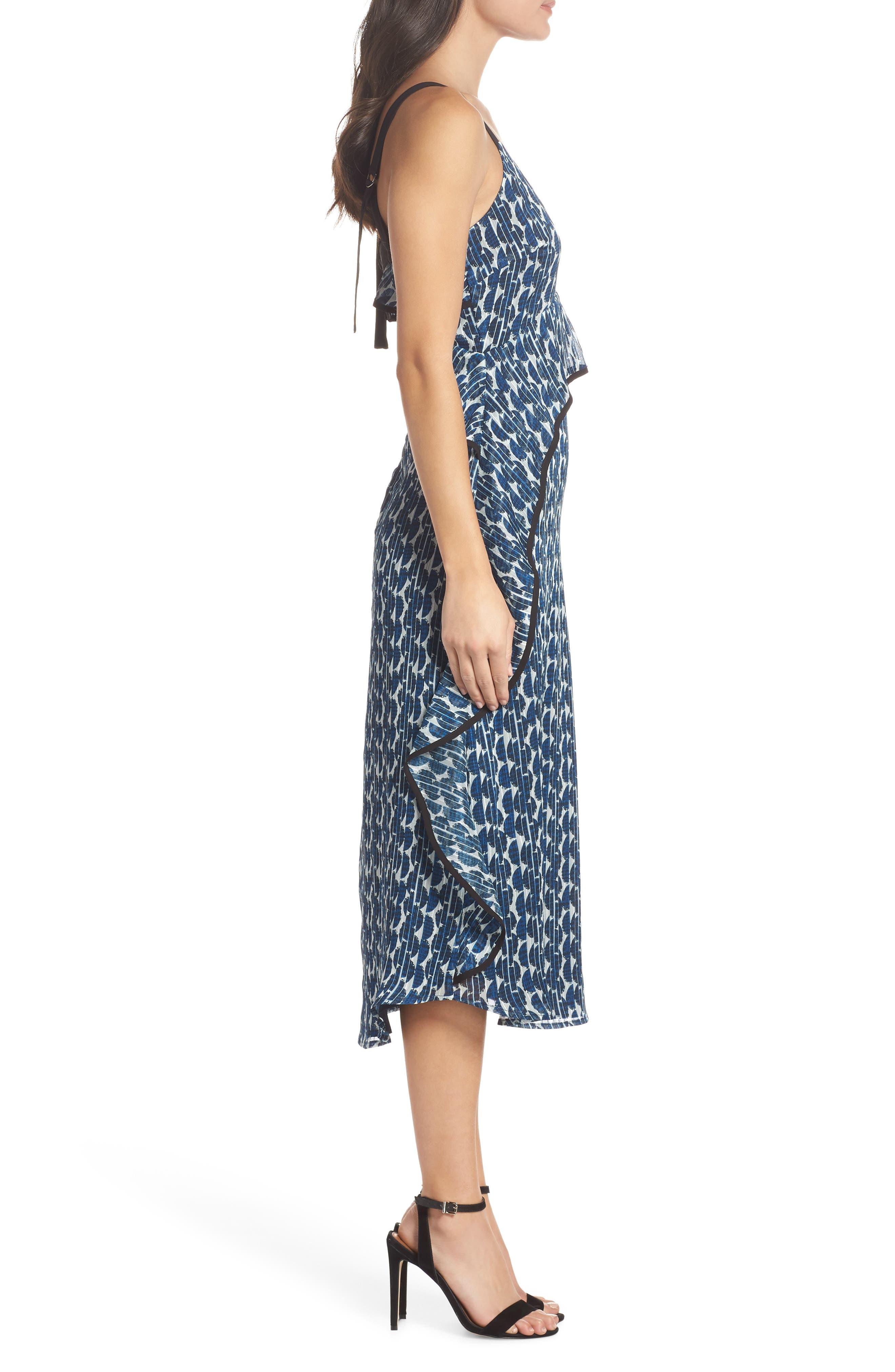Print Frill Midi Dress,                             Alternate thumbnail 3, color,                             Blue/ Black