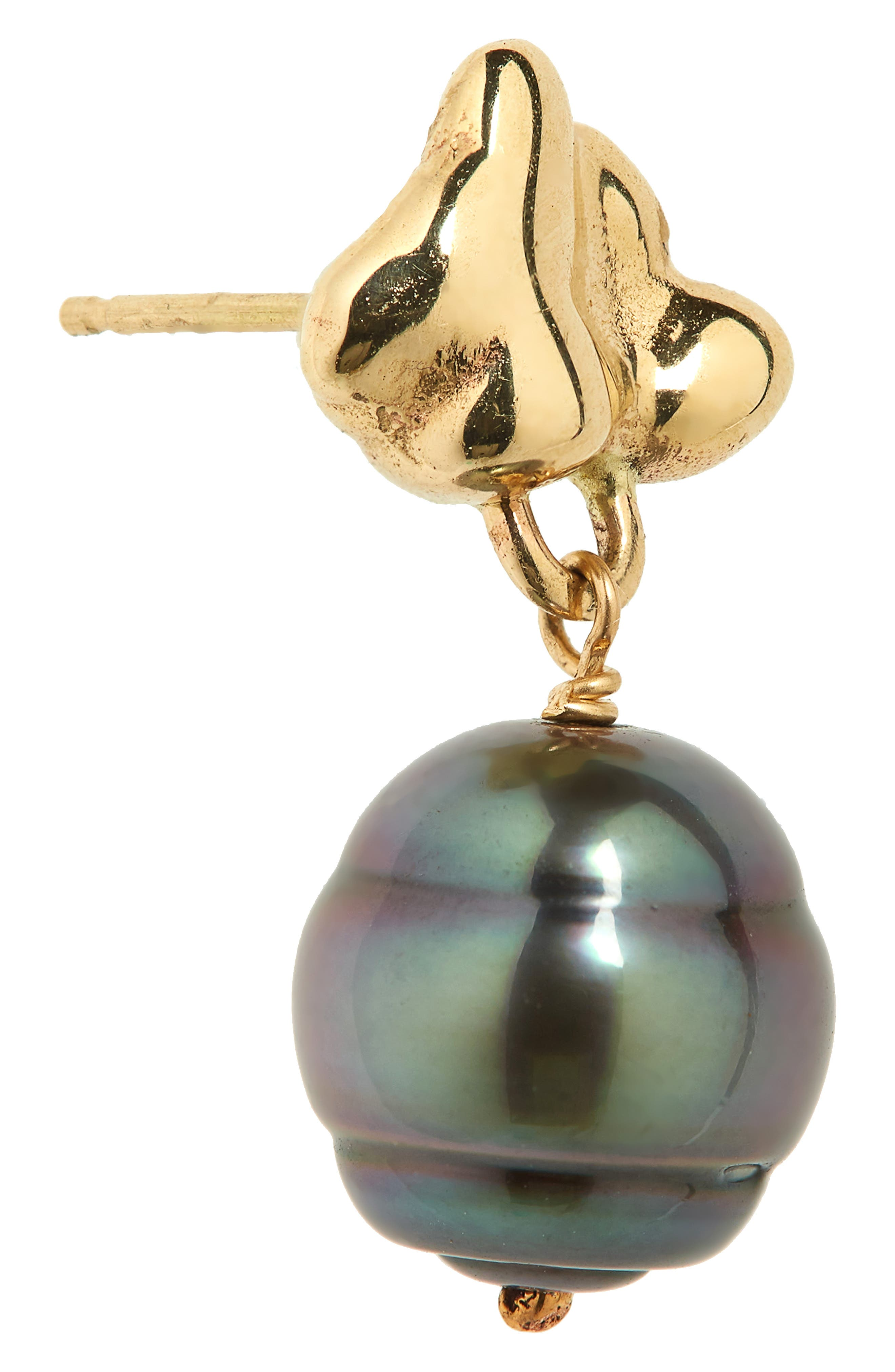 Black Pearl Drop Earrings,                             Alternate thumbnail 3, color,                             Gold/ Black Pearl