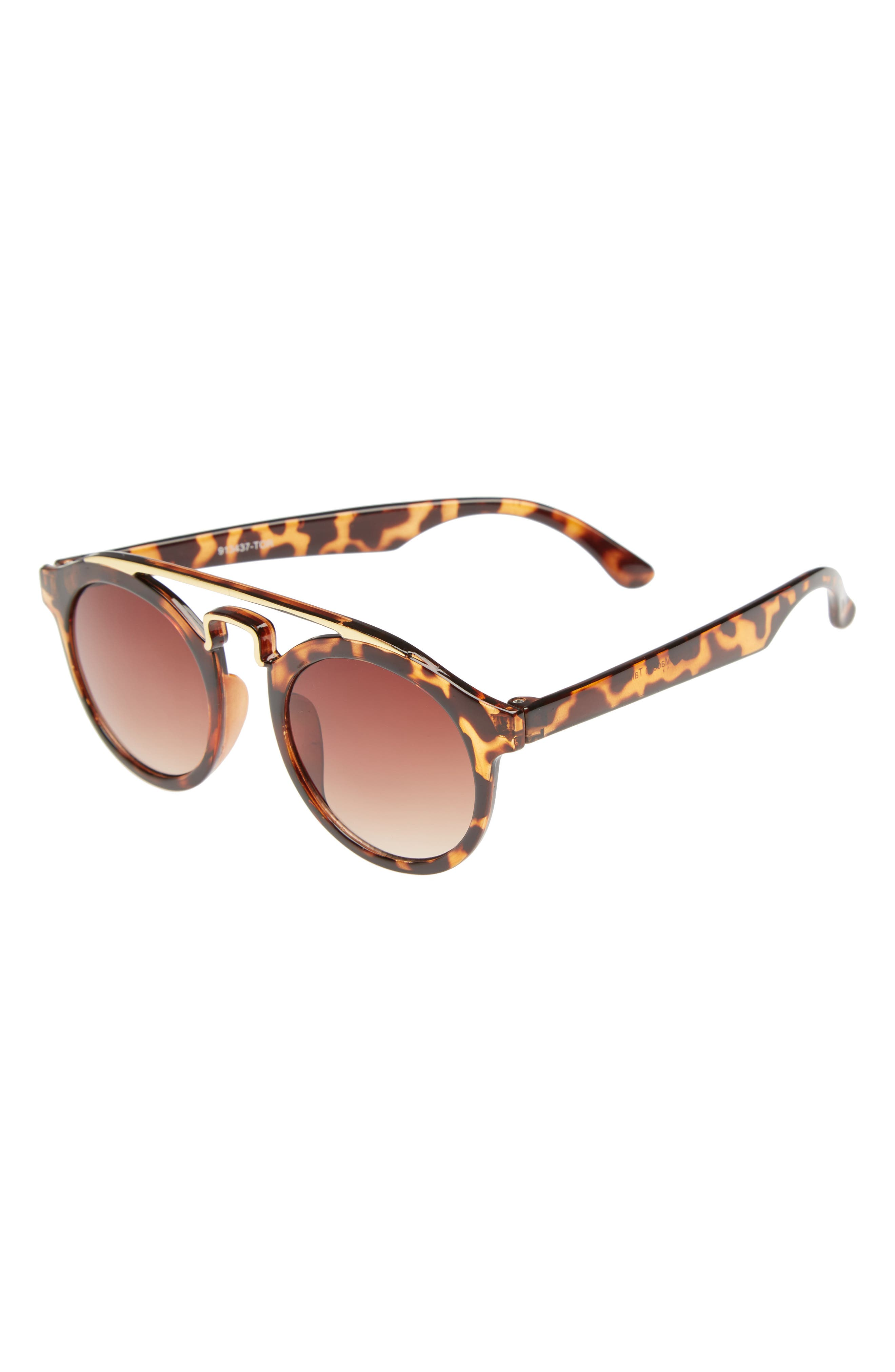 43mm Round Brow Bar Sunglasses,                         Main,                         color, Brown