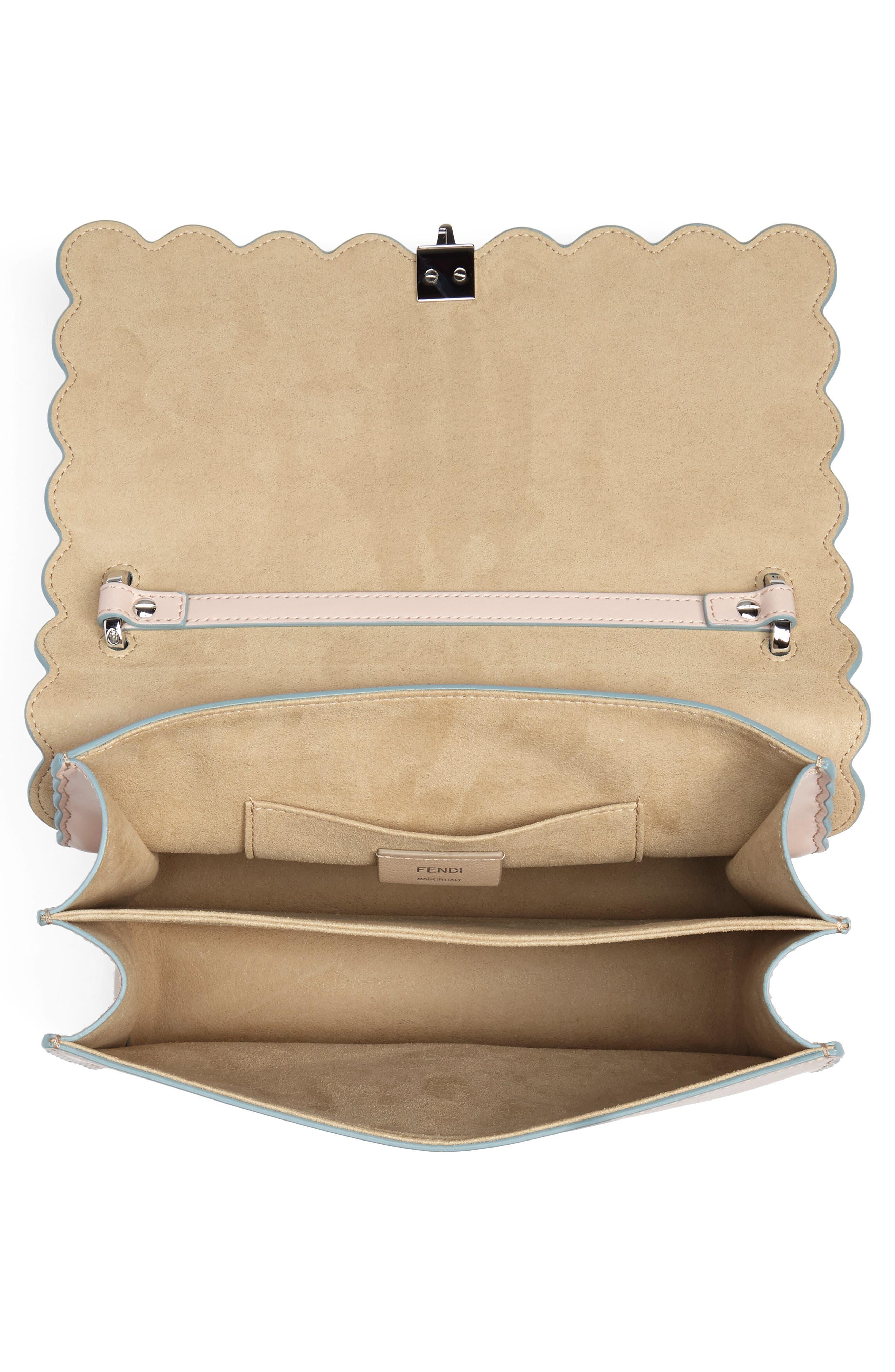 Kan I Scallop Leather Shoulder Bag,                             Alternate thumbnail 4, color,                             Soap/ Palladio