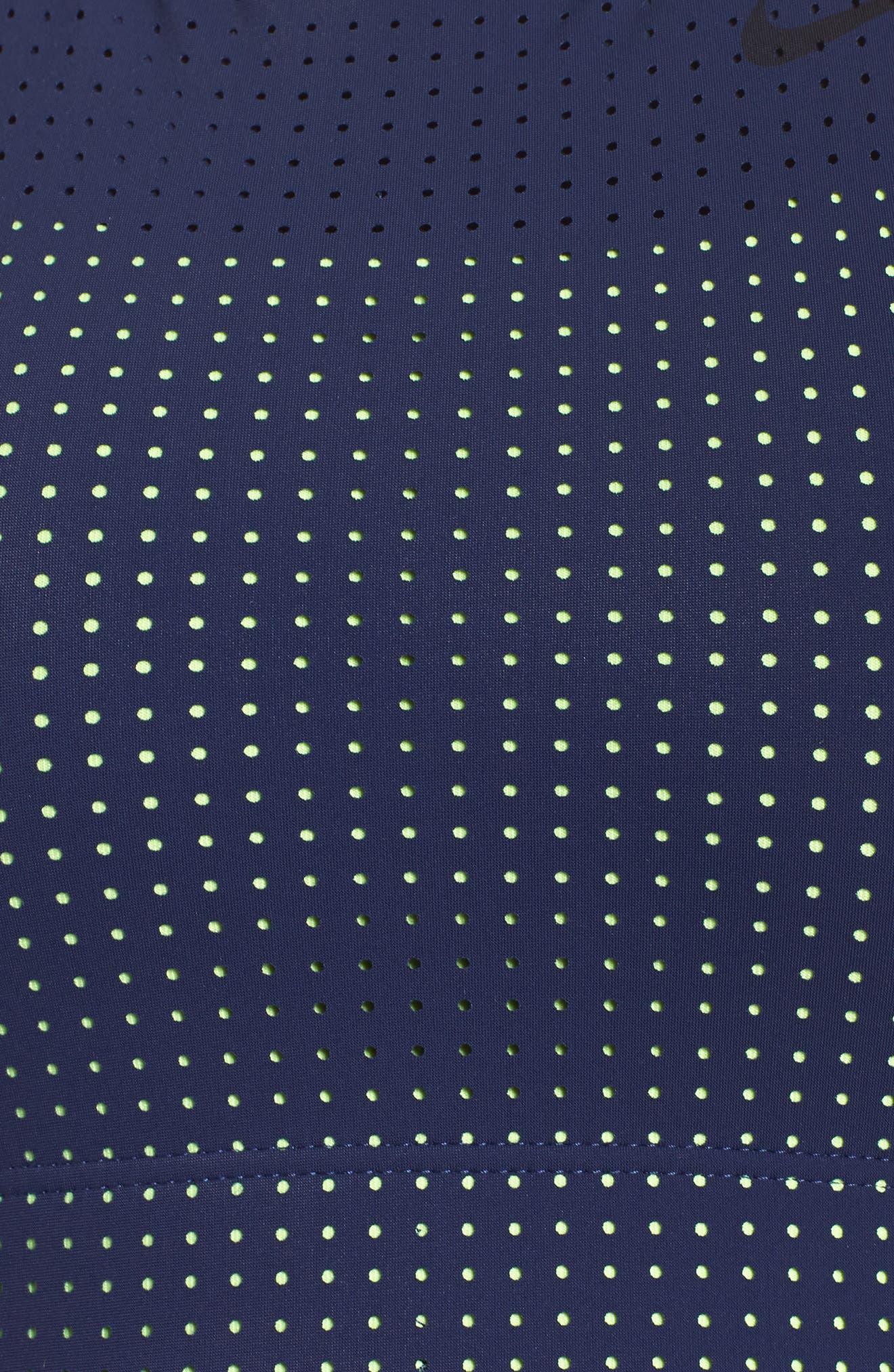 Classic Crossback Sports Bra,                             Alternate thumbnail 6, color,                             Binary Blue/ Volt Glow/ Black