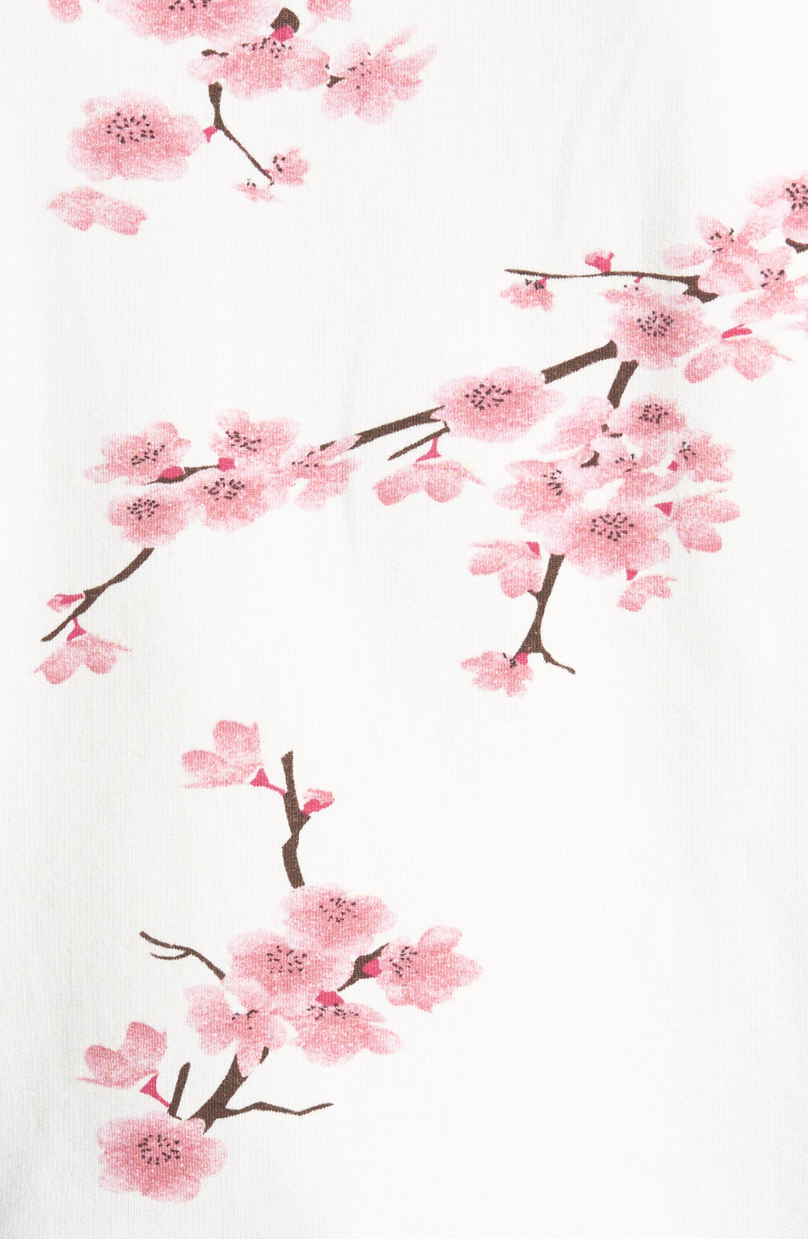 Short Sleeve Lace Up Cherry Blossom Sweatshirt,                             Alternate thumbnail 5, color,                             White Cherry Blossom
