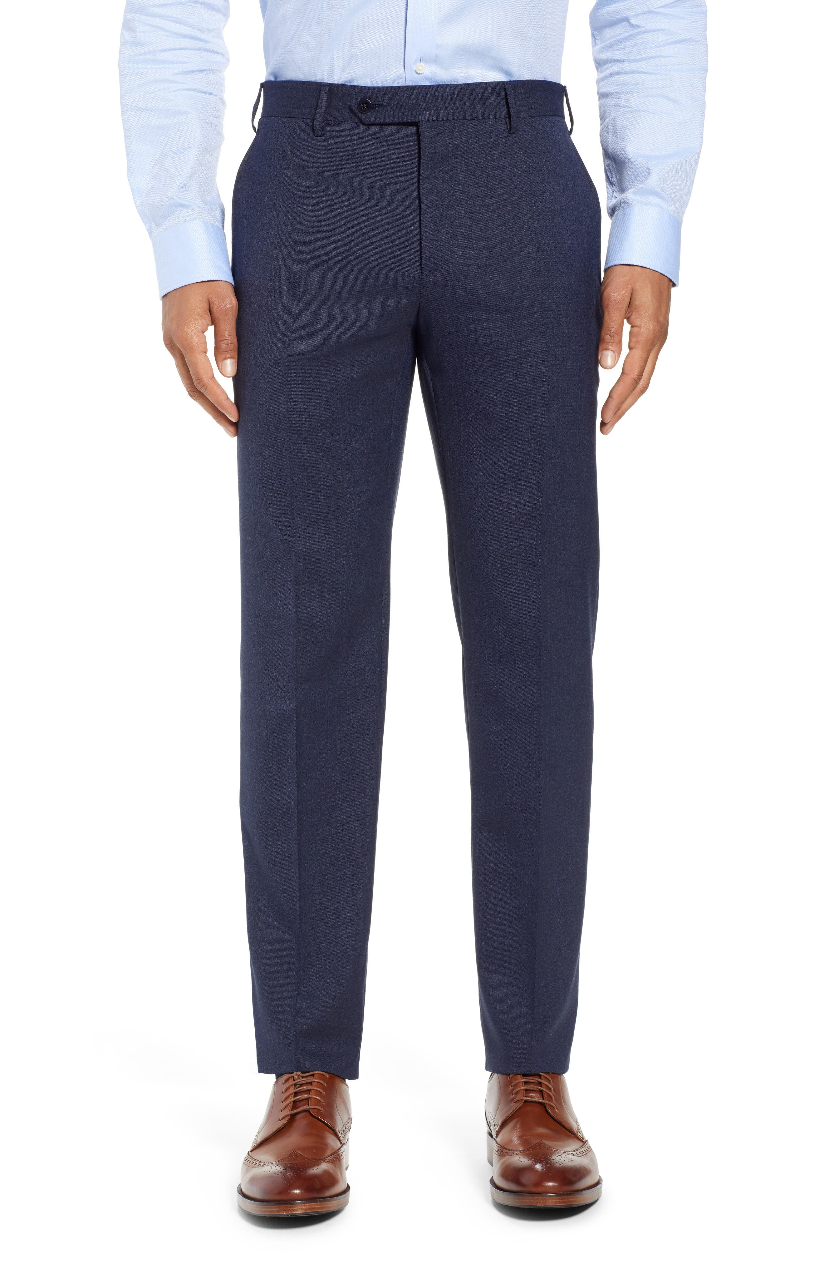 ZANELLA CURTIS FLAT FRONT STRETCH WOOL BLEND TROUSERS