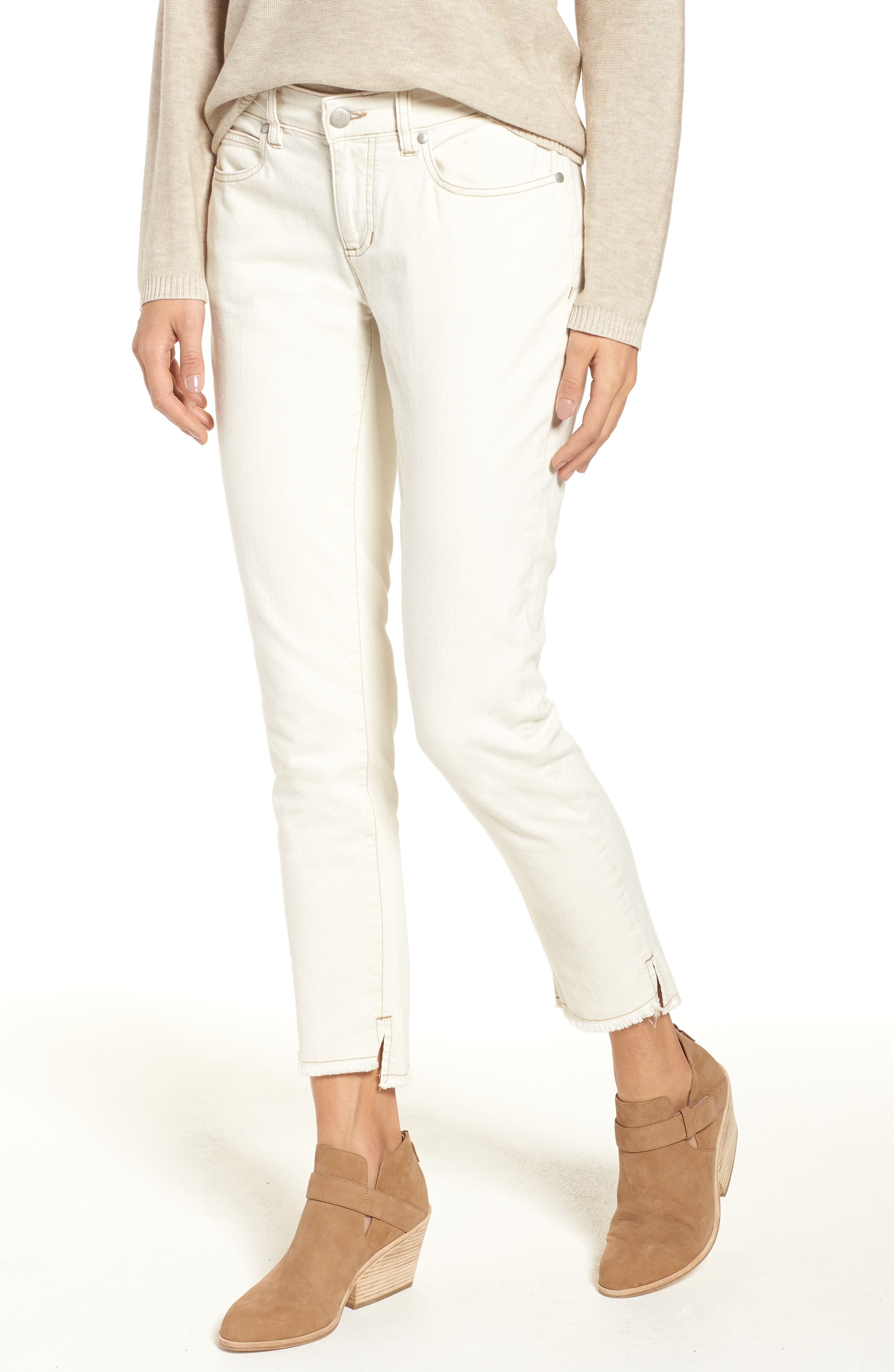 Stretch Organic Cotton Slim Ankle Jeans,                             Main thumbnail 1, color,                             Undyed Natural