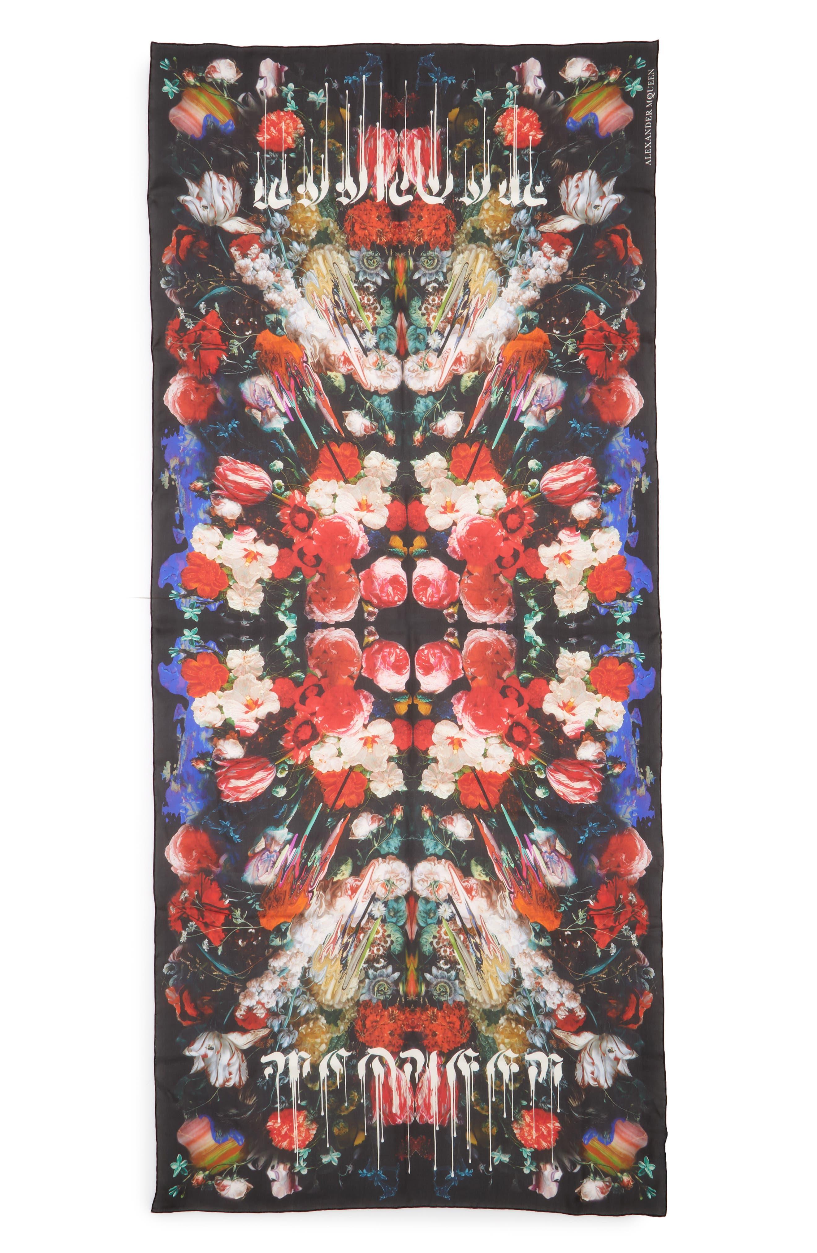 Alexander McQueen Drip Flower Satin Stole