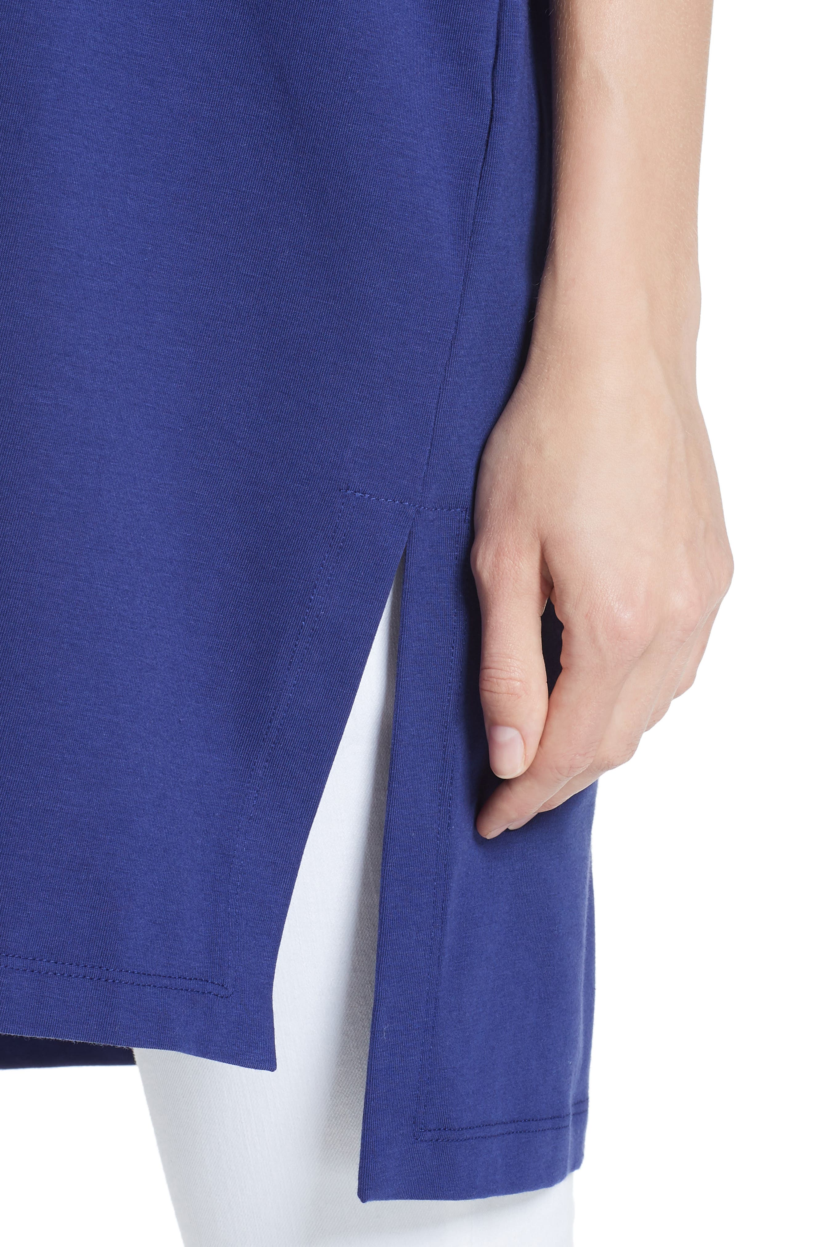 Stretch Organic Cotton Jersey Tunic,                             Alternate thumbnail 4, color,                             Sapphire