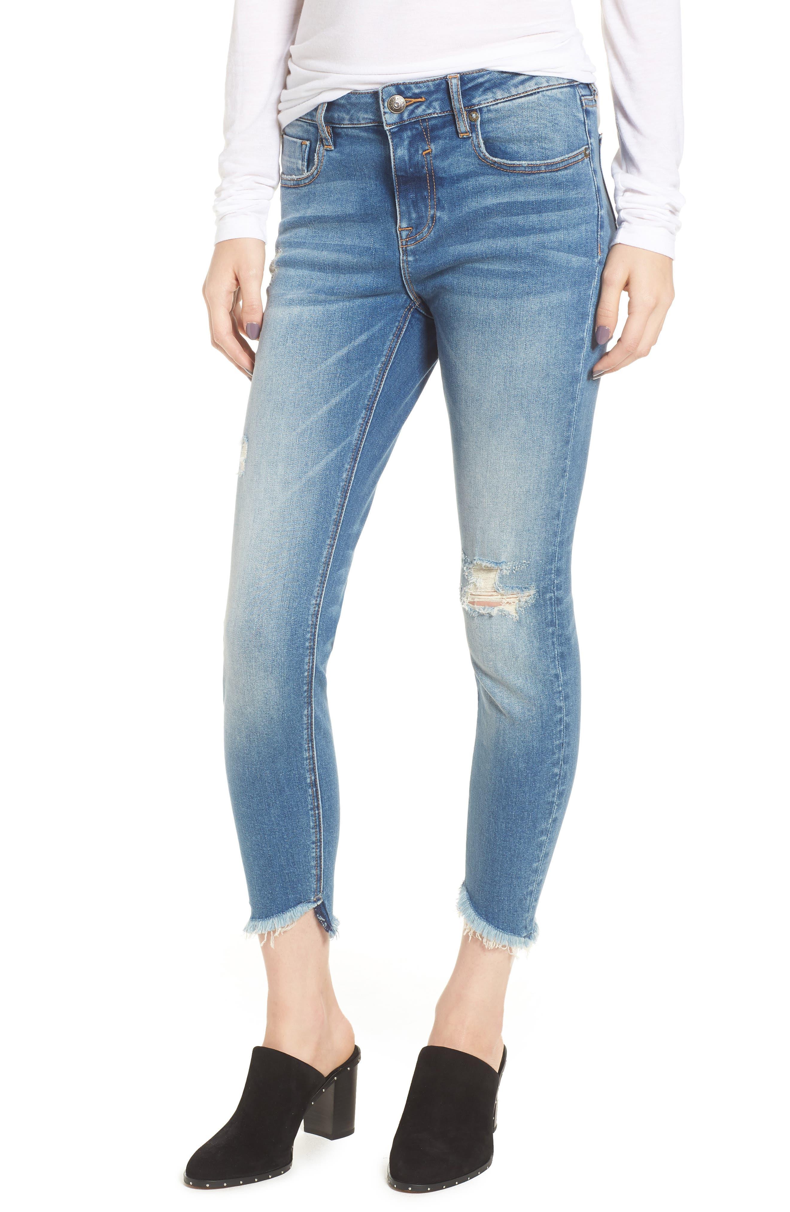 Marley Tulip Hem Ankle Skinny Jeans,                             Main thumbnail 1, color,                             Dark Wash