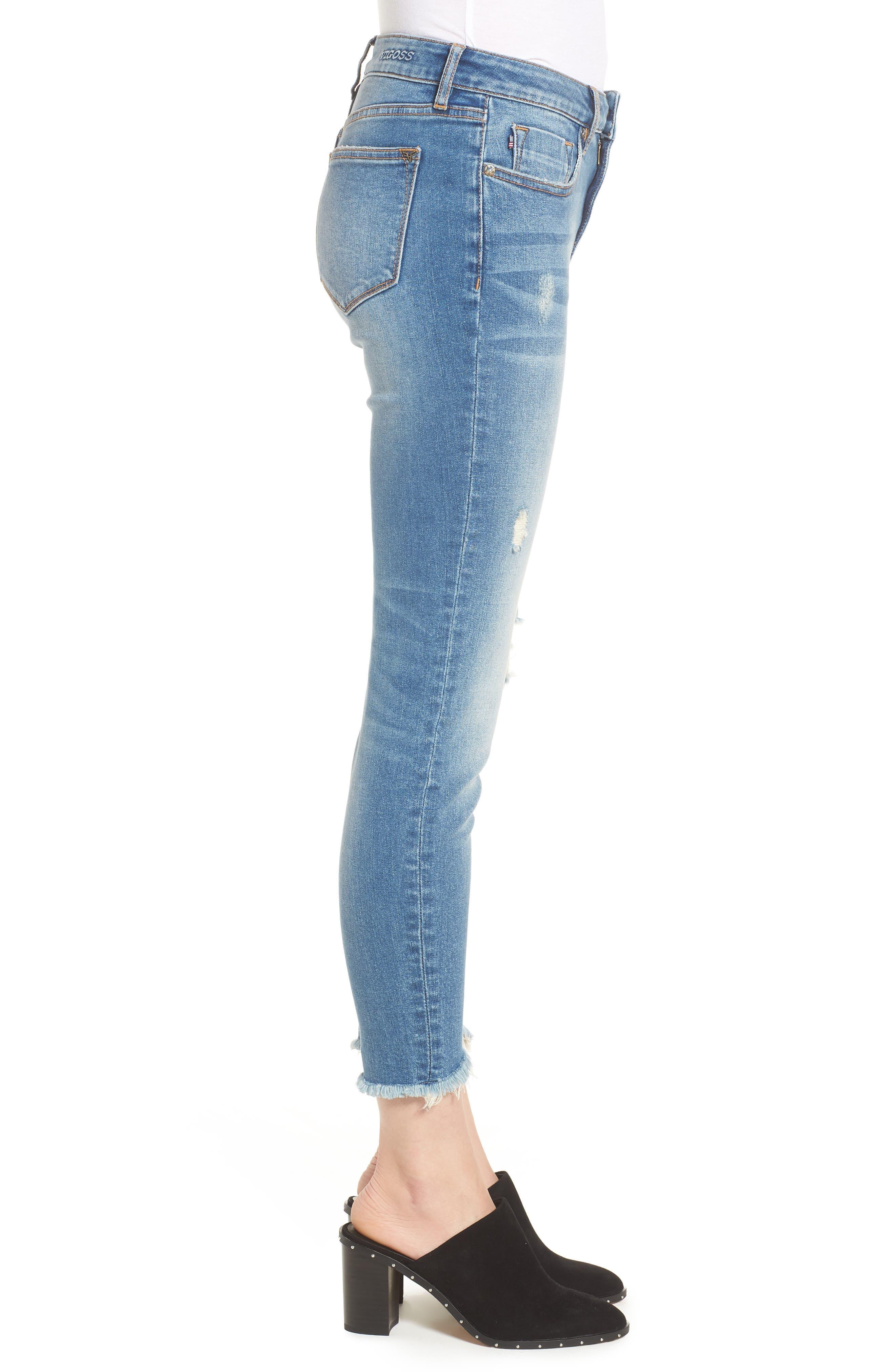 Marley Tulip Hem Ankle Skinny Jeans,                             Alternate thumbnail 3, color,                             Dark Wash
