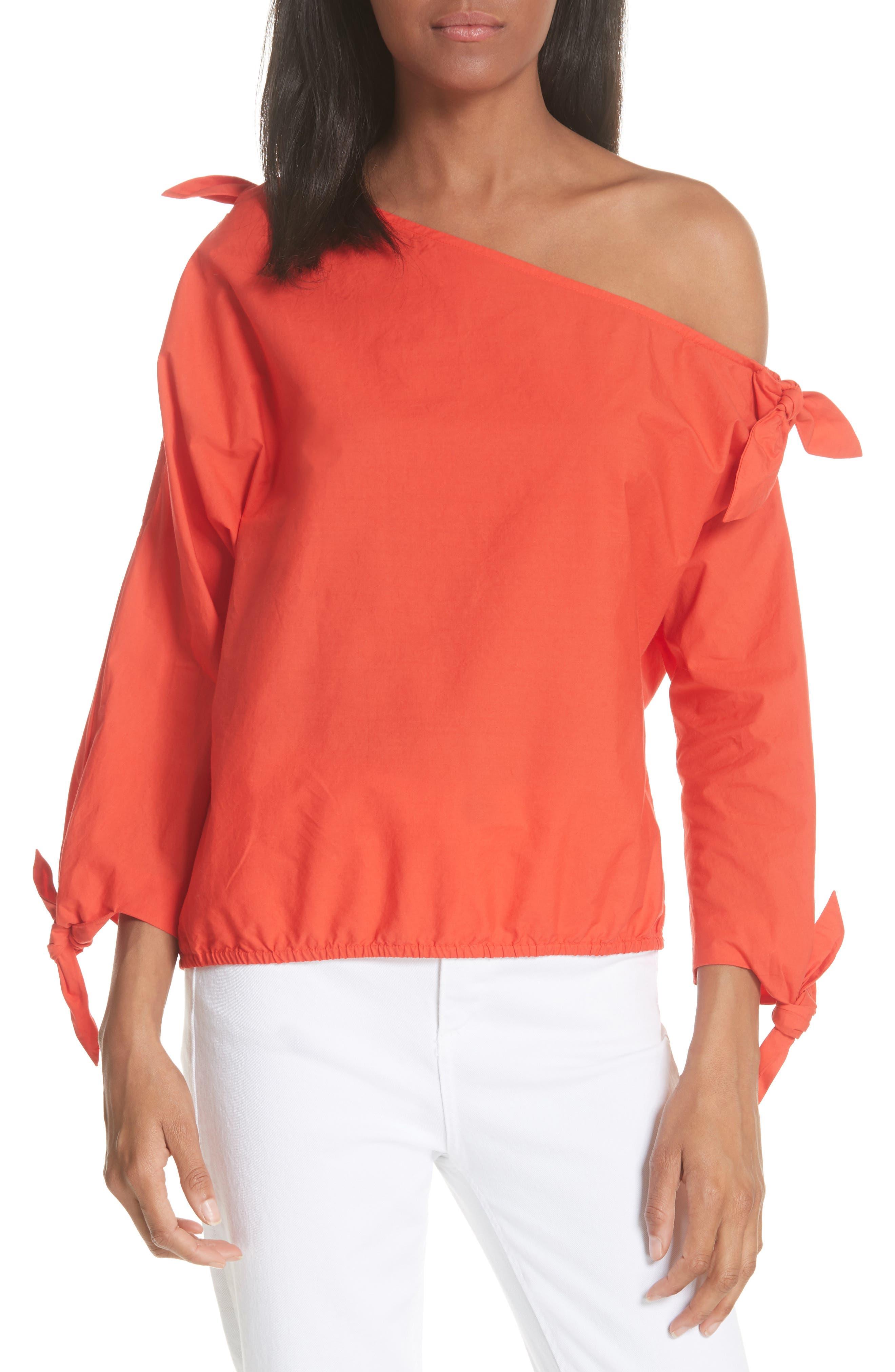 Colissa One-Shoulder Cotton Blouse,                             Main thumbnail 1, color,                             Salsa