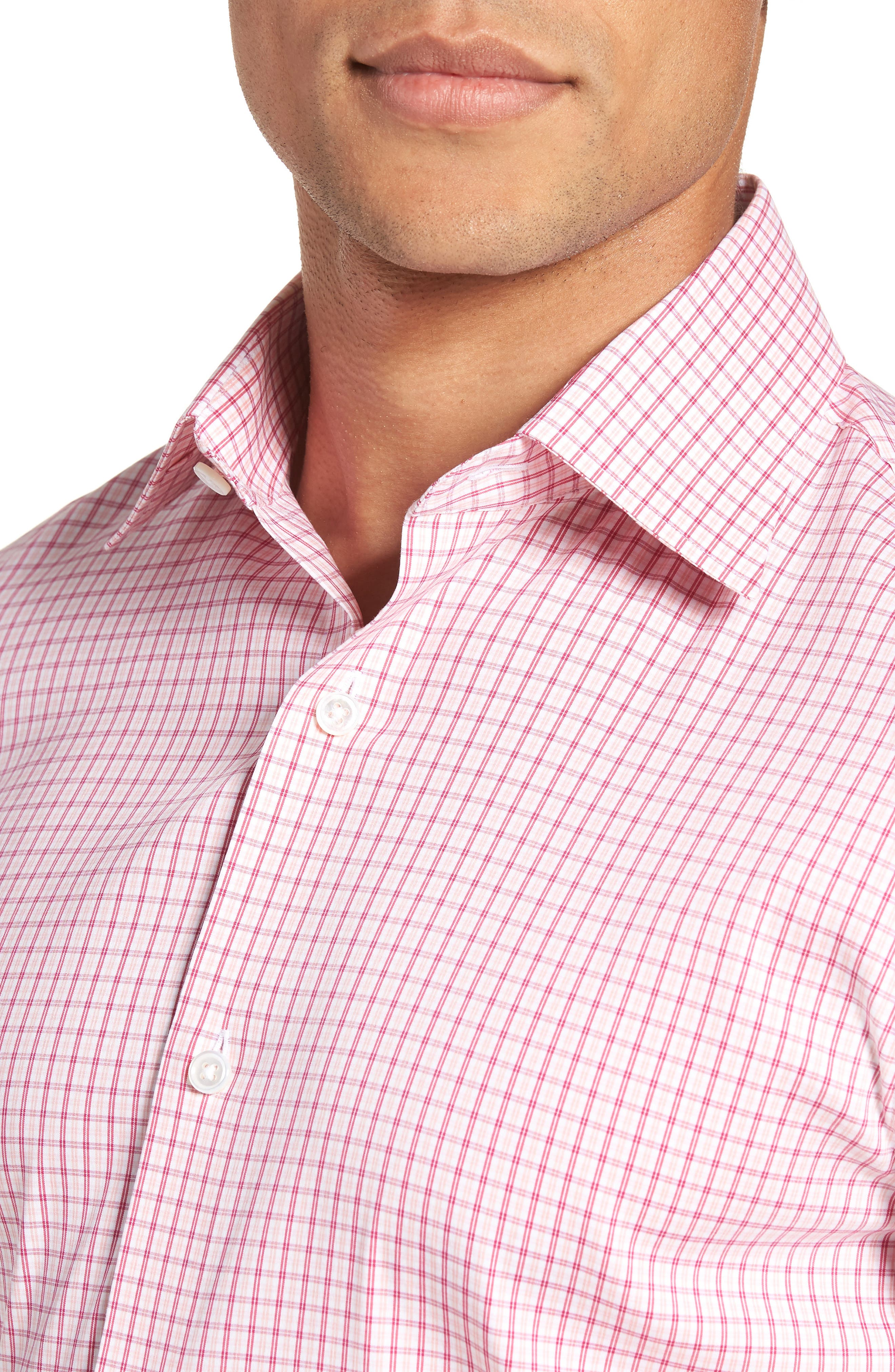 Jetsetter Slim Fit Stretch Check Dress Shirt,                             Alternate thumbnail 2, color,                             Pink Peacock