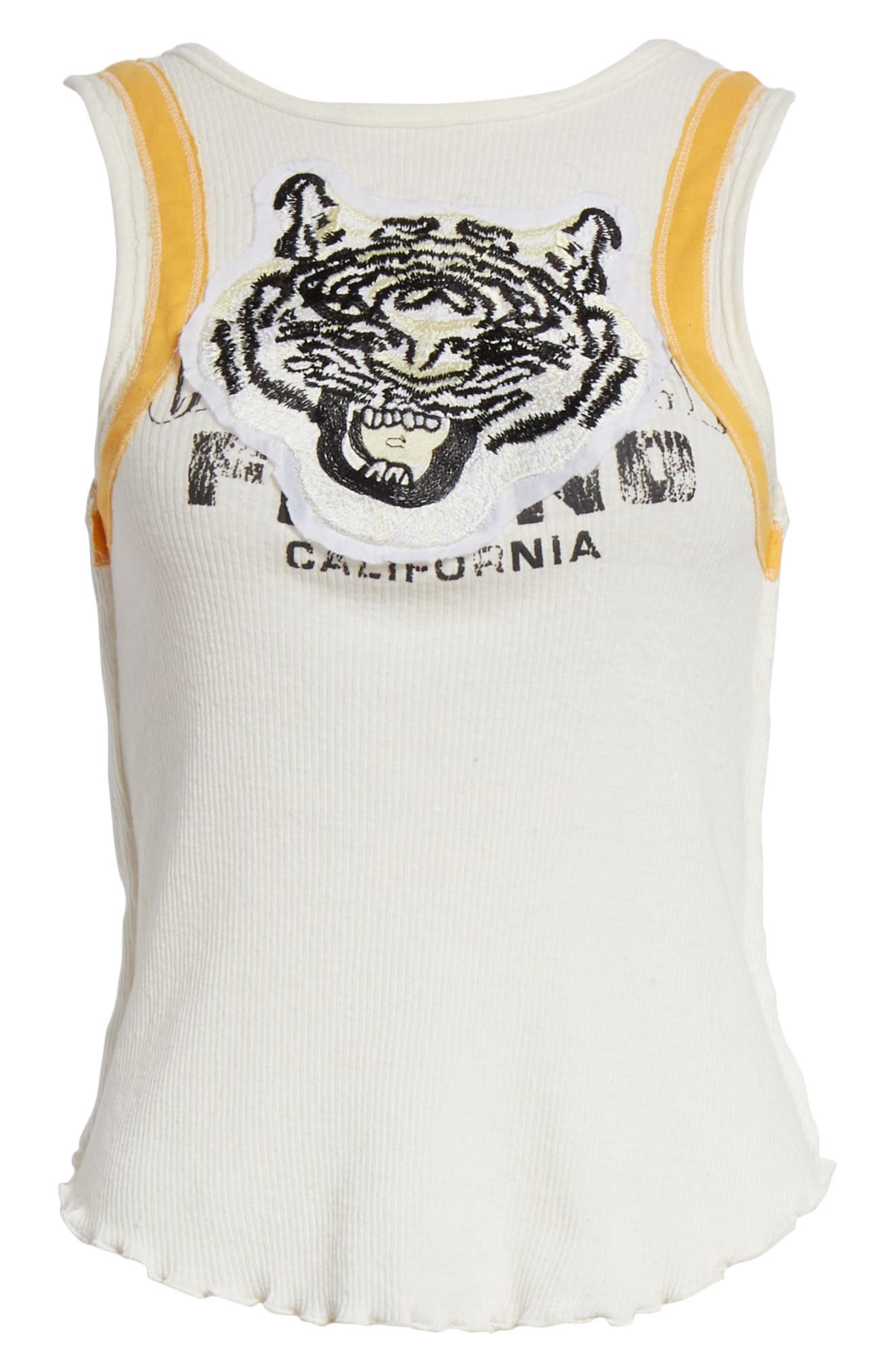 We the Free by Free People Mini Moto Graphic Tank,                             Alternate thumbnail 6, color,                             White