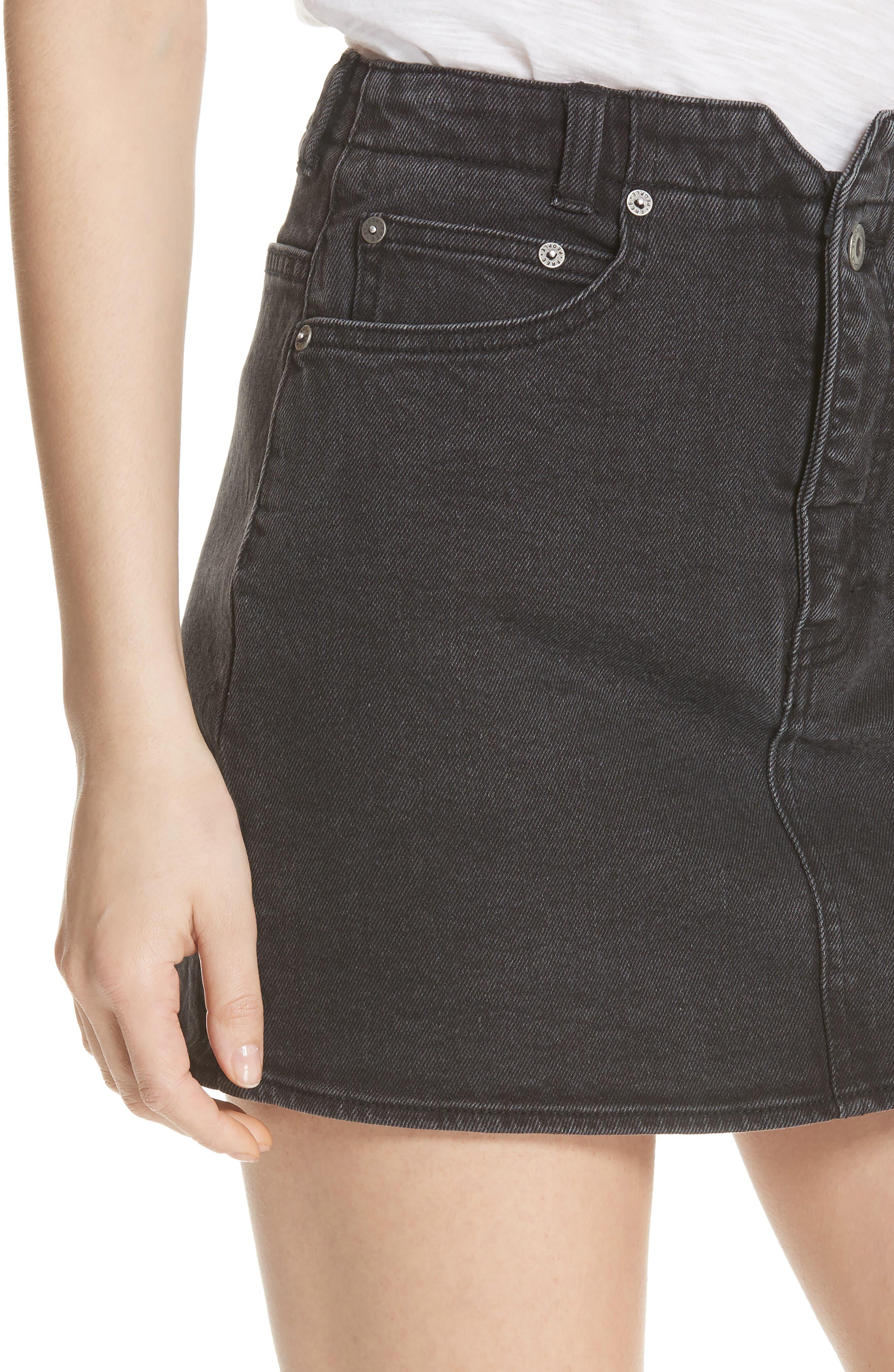 She's All That Denim Miniskirt,                             Alternate thumbnail 4, color,                             Black