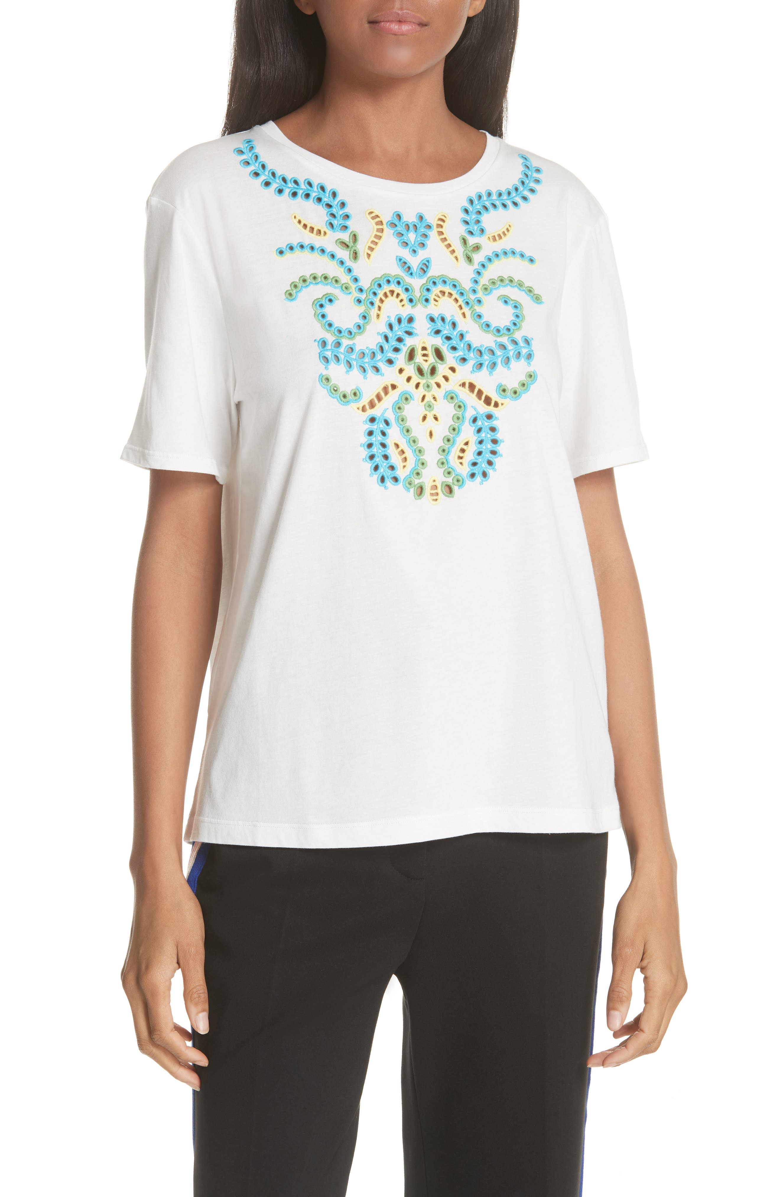 Embroidery Cotton Blend Tee,                         Main,                         color, Blanc