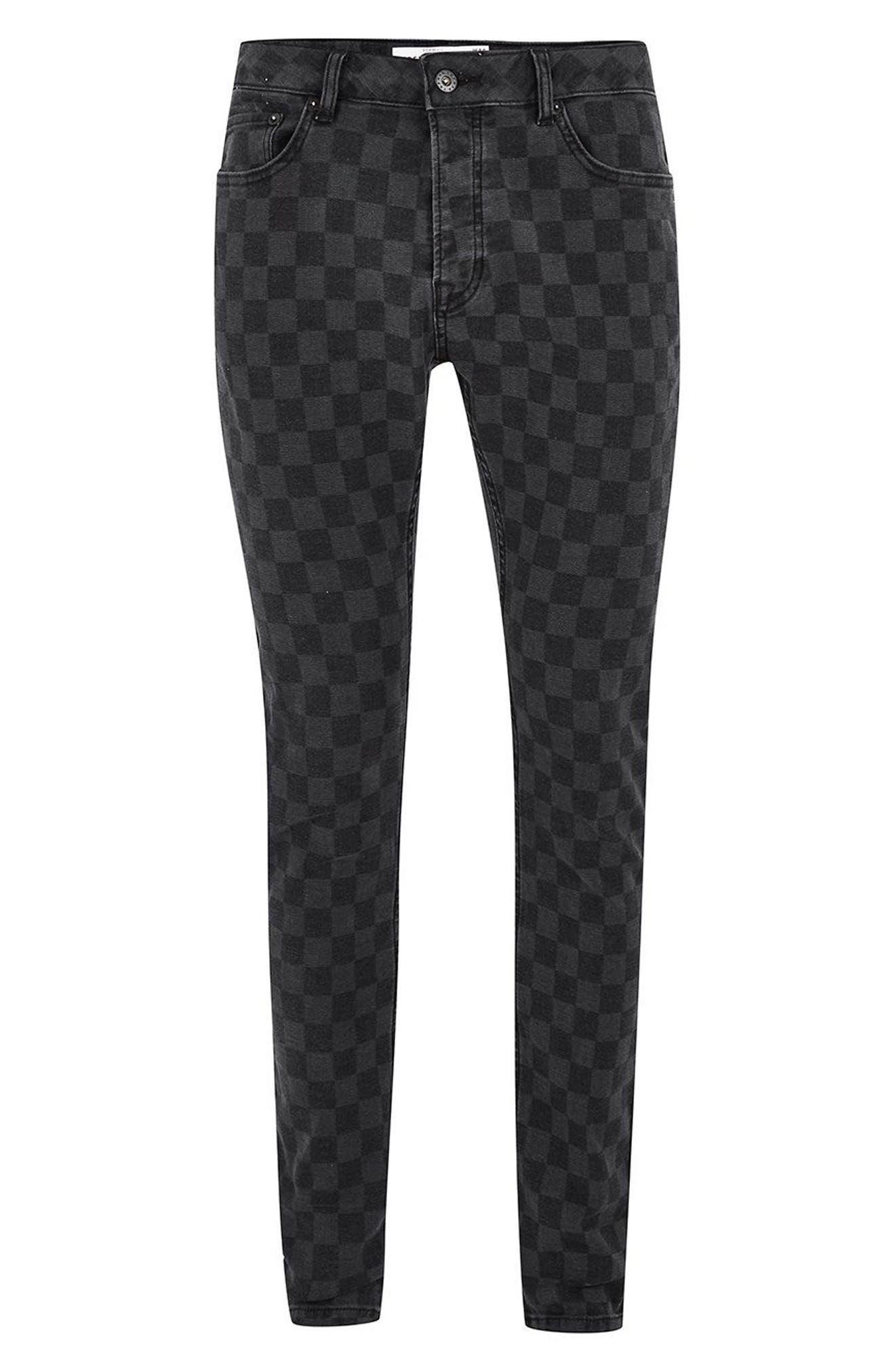 Check Stretch Skinny Fit Pants,                             Alternate thumbnail 4, color,                             Black Multi