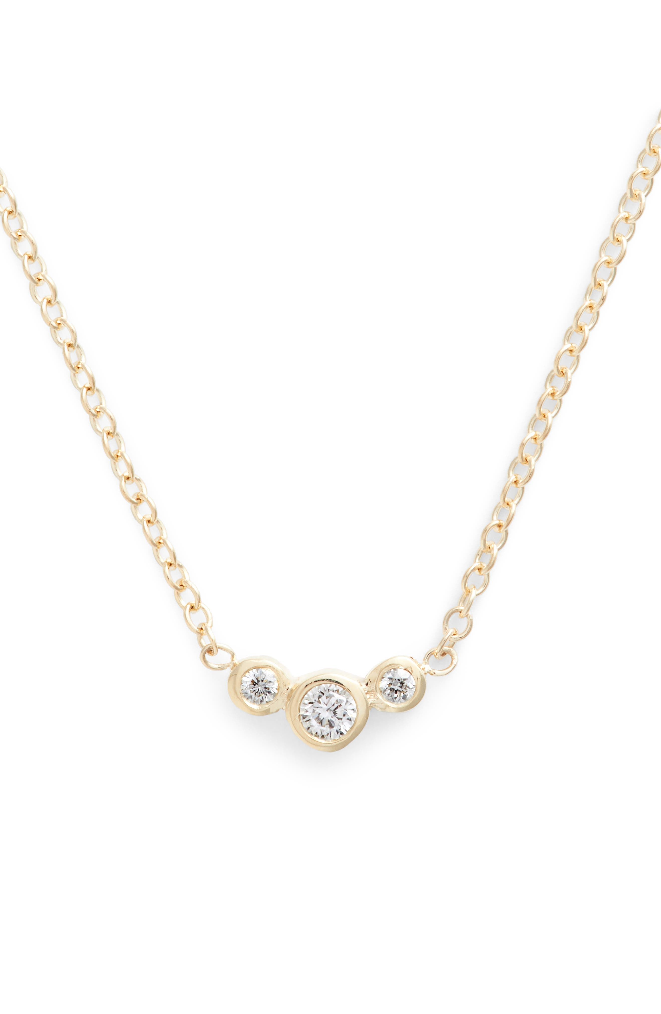 Curved 3-Diamond Bezel Pendant Necklace,                         Main,                         color, Yellow Gold