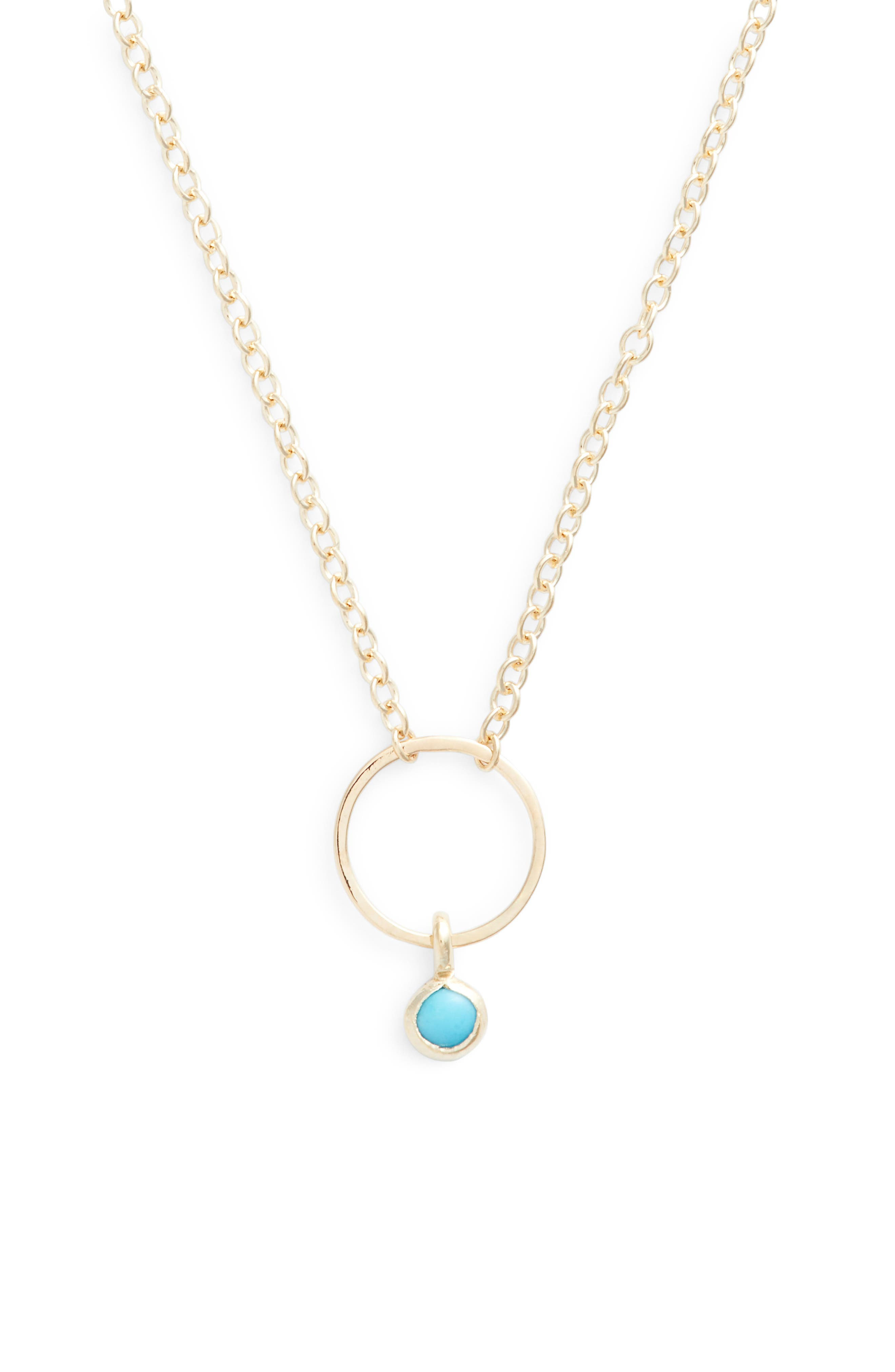 Dangling Turquoise Circle Pendant Necklace,                             Alternate thumbnail 2, color,                             Yellow Gold