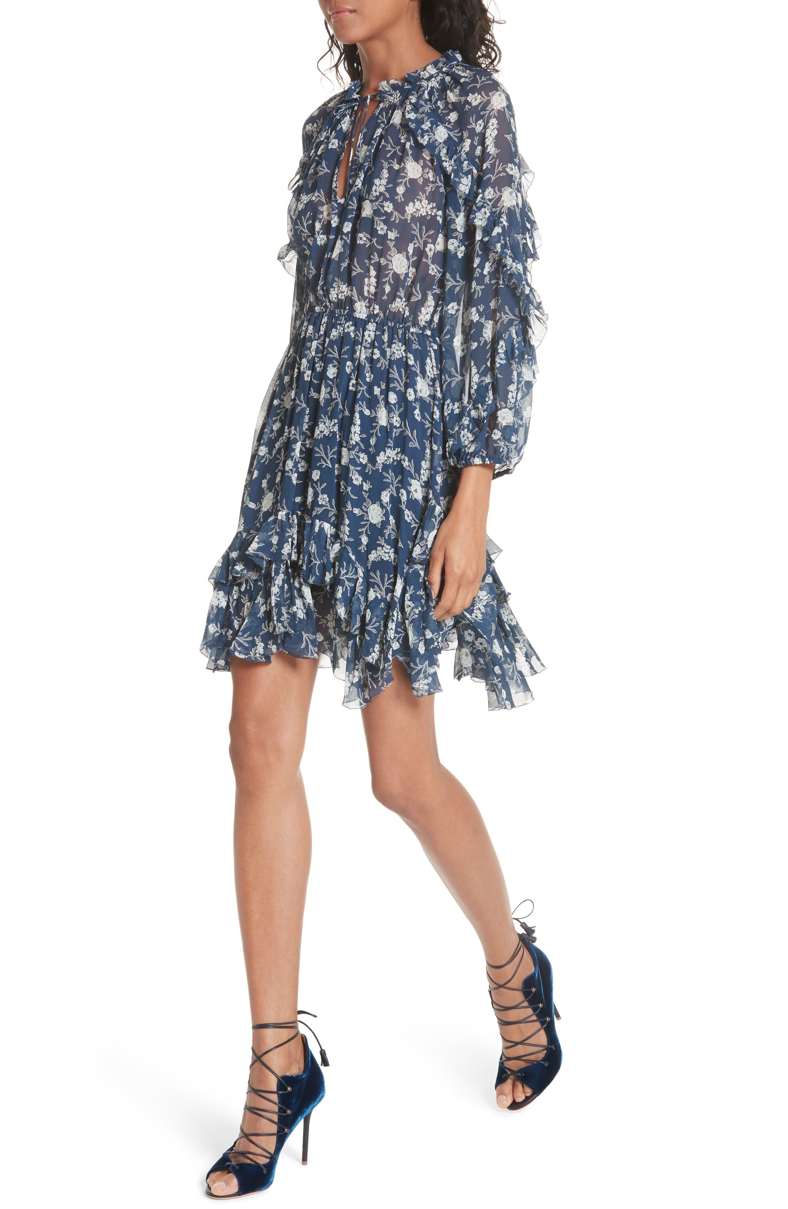 Alissa Silk Dress,                             Alternate thumbnail 4, color,                             Azure