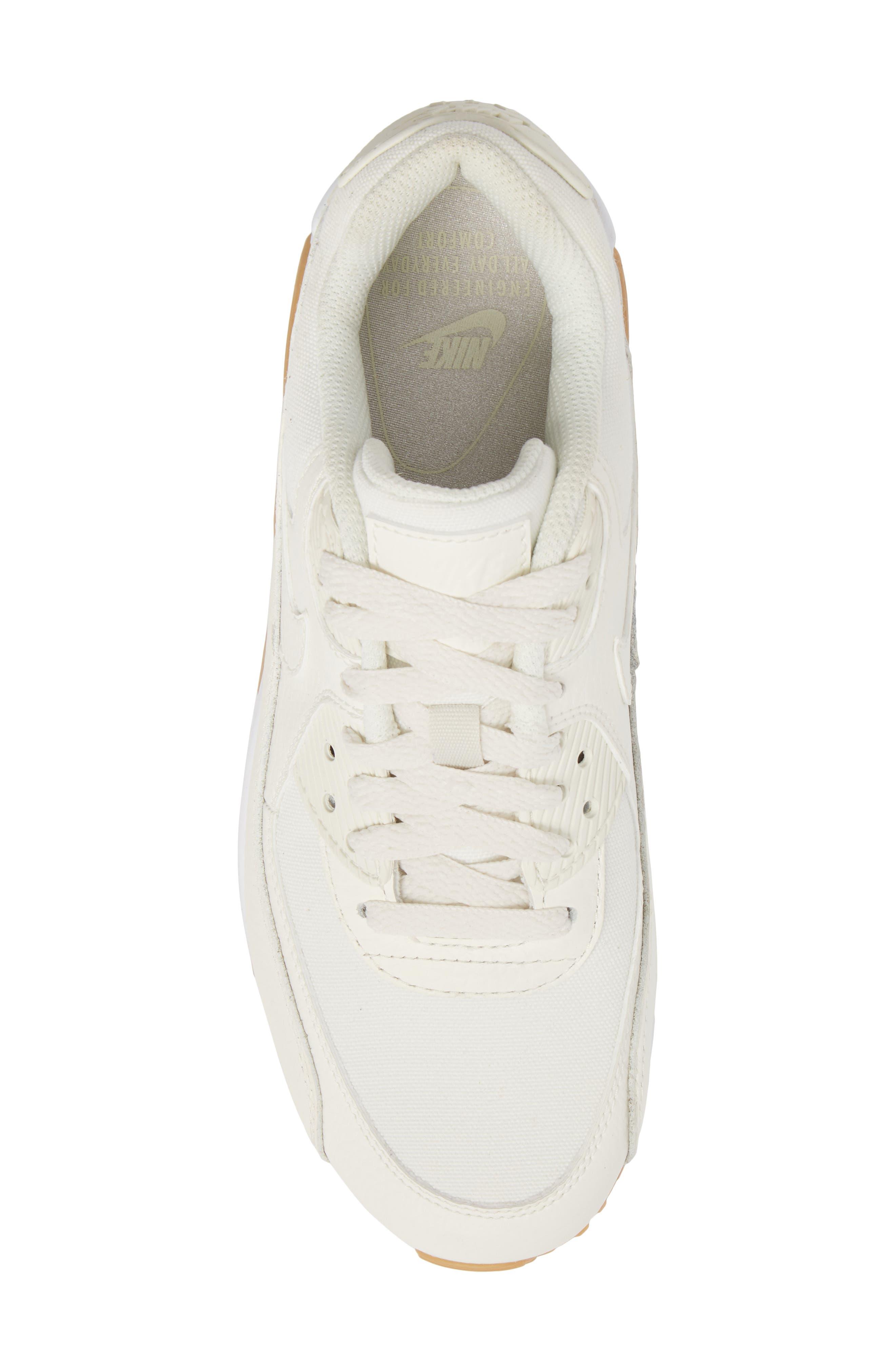 Air Max 90 Premium Sneaker,                             Alternate thumbnail 5, color,                             Sail/ Light Brown/ White