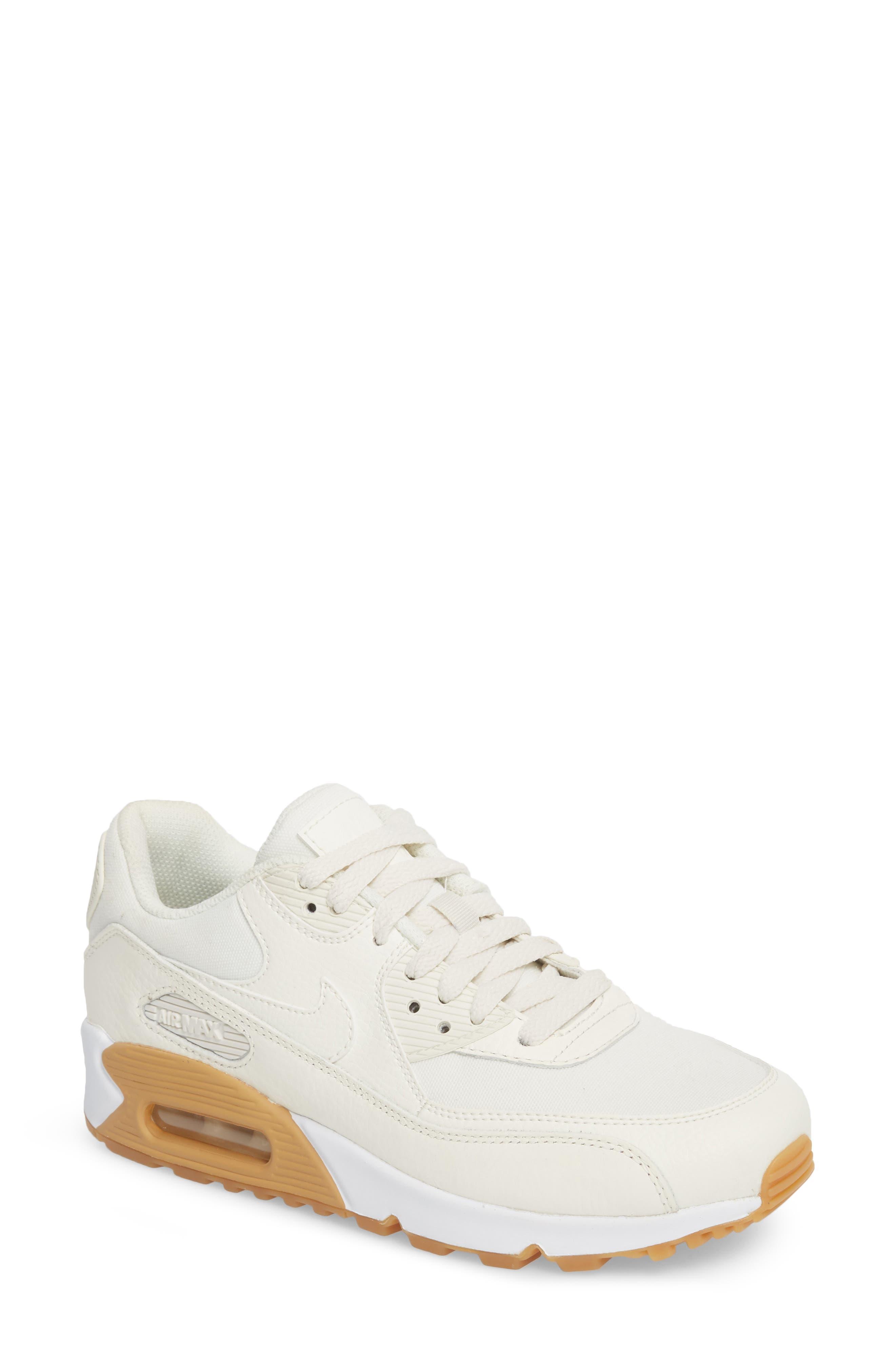 Air Max 90 Premium Sneaker,                             Main thumbnail 1, color,                             Sail/ Light Brown/ White