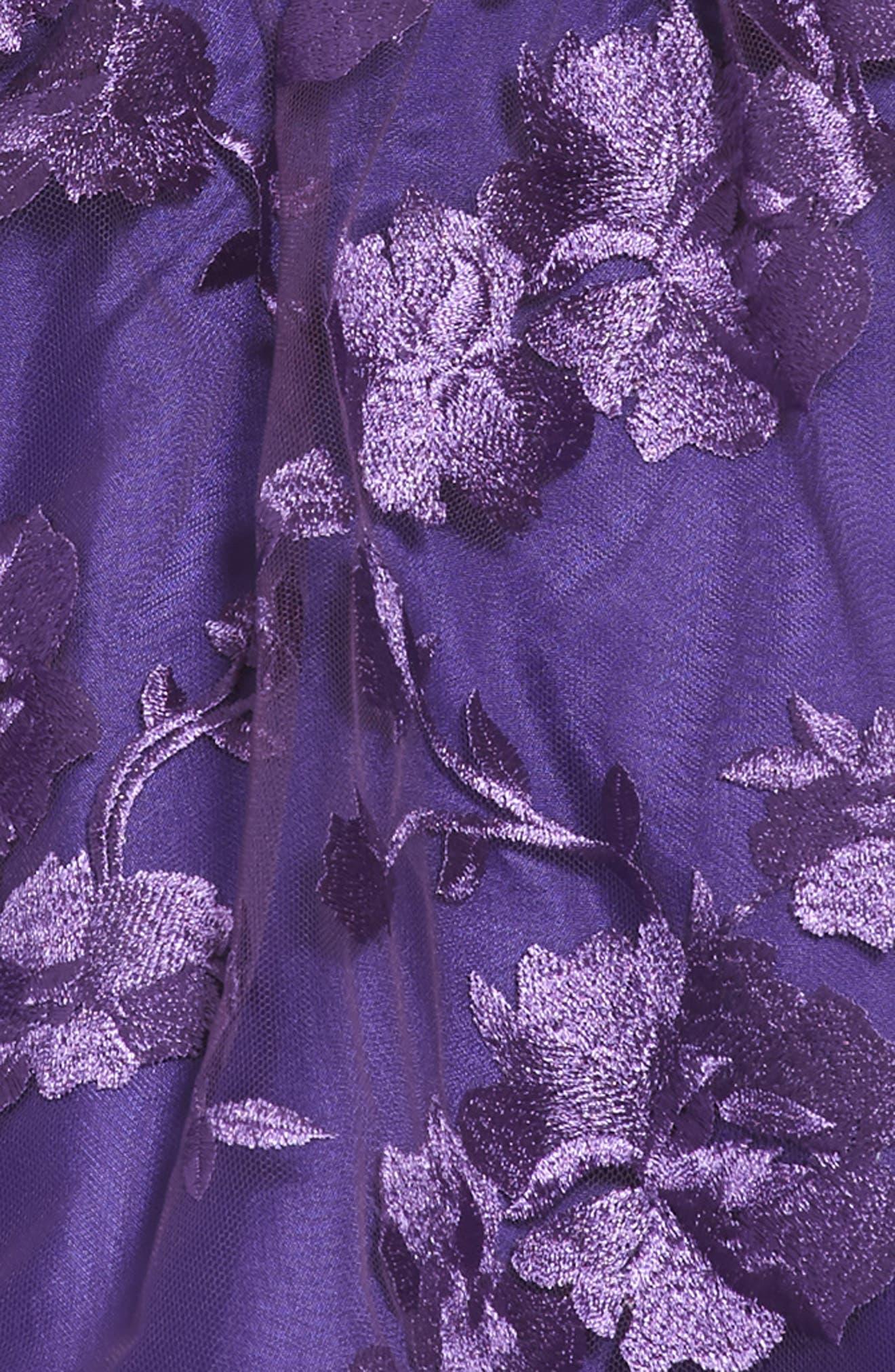 Floral Mesh Sleeveless Dress,                             Alternate thumbnail 3, color,                             Plum