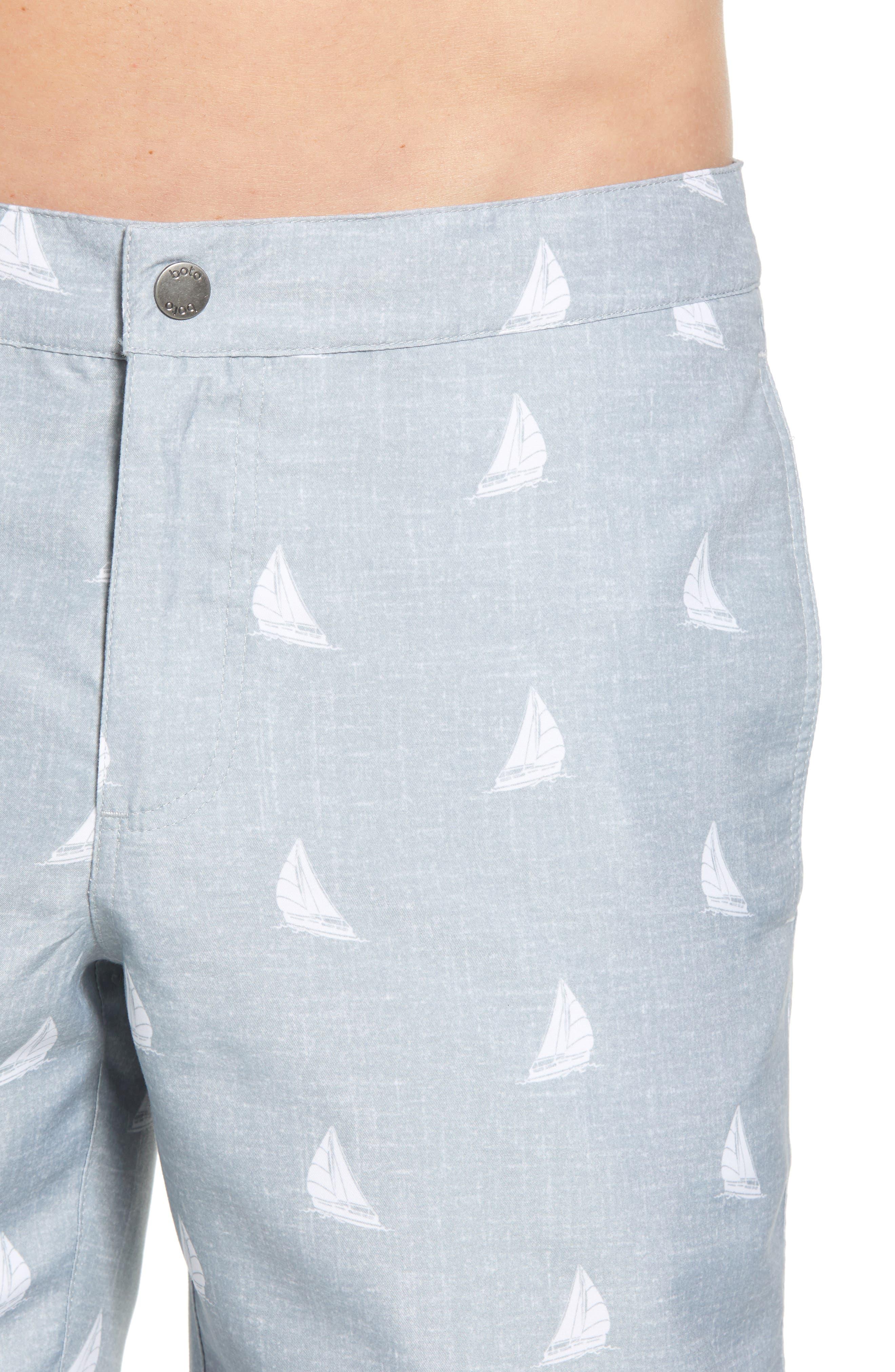 Aruba Slim Fit Swim Trunks,                             Alternate thumbnail 4, color,                             Heathered Grey Sailboats