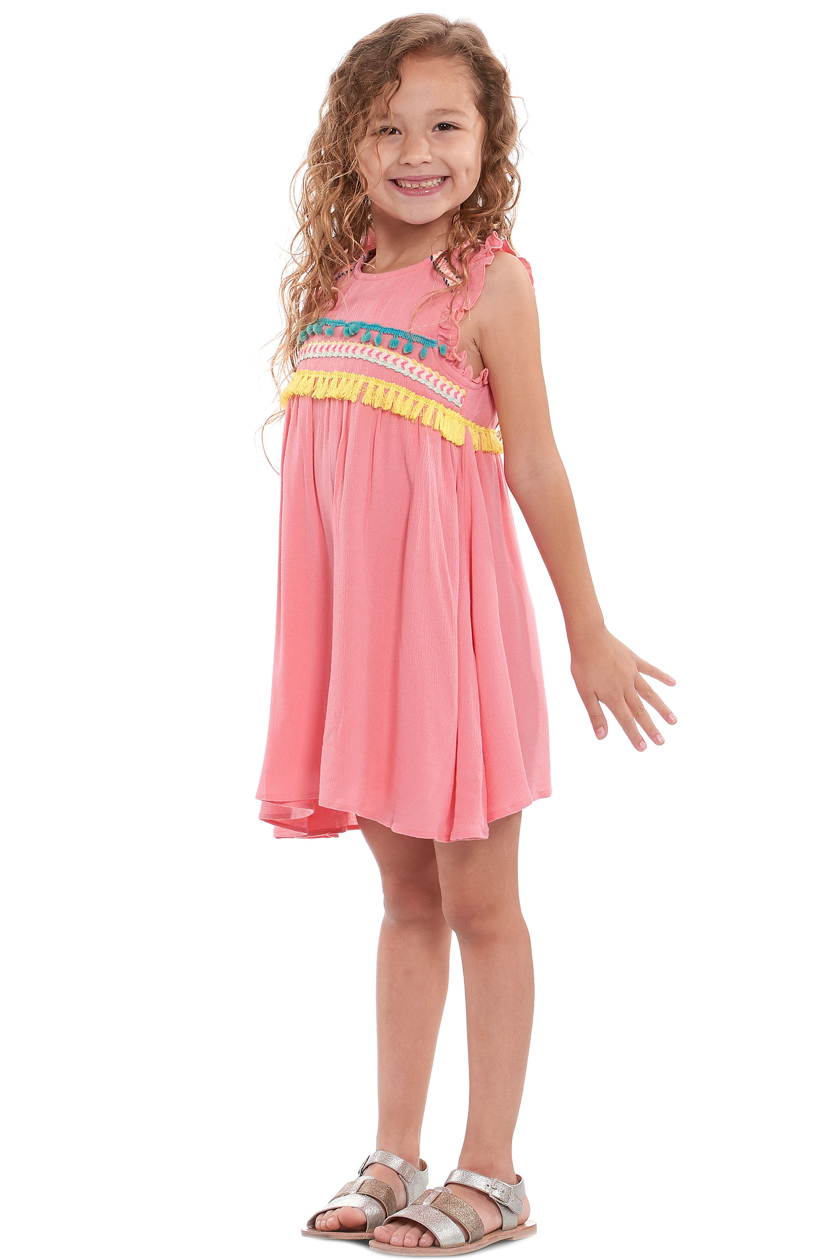 Trim Babydoll Dress,                             Alternate thumbnail 4, color,                             Coral