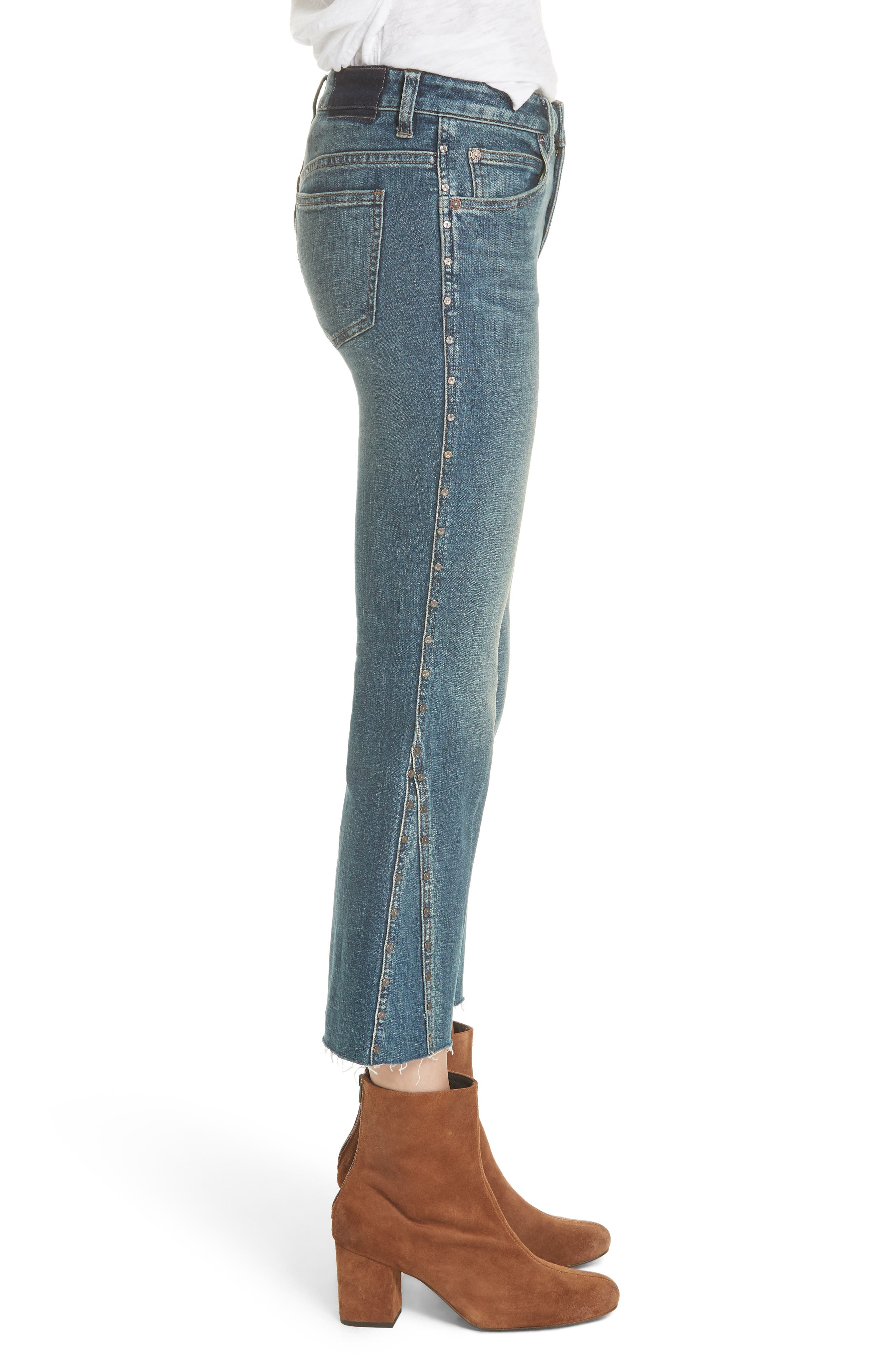 Studded Crop Flare Jeans,                             Alternate thumbnail 5, color,                             Dark Denim