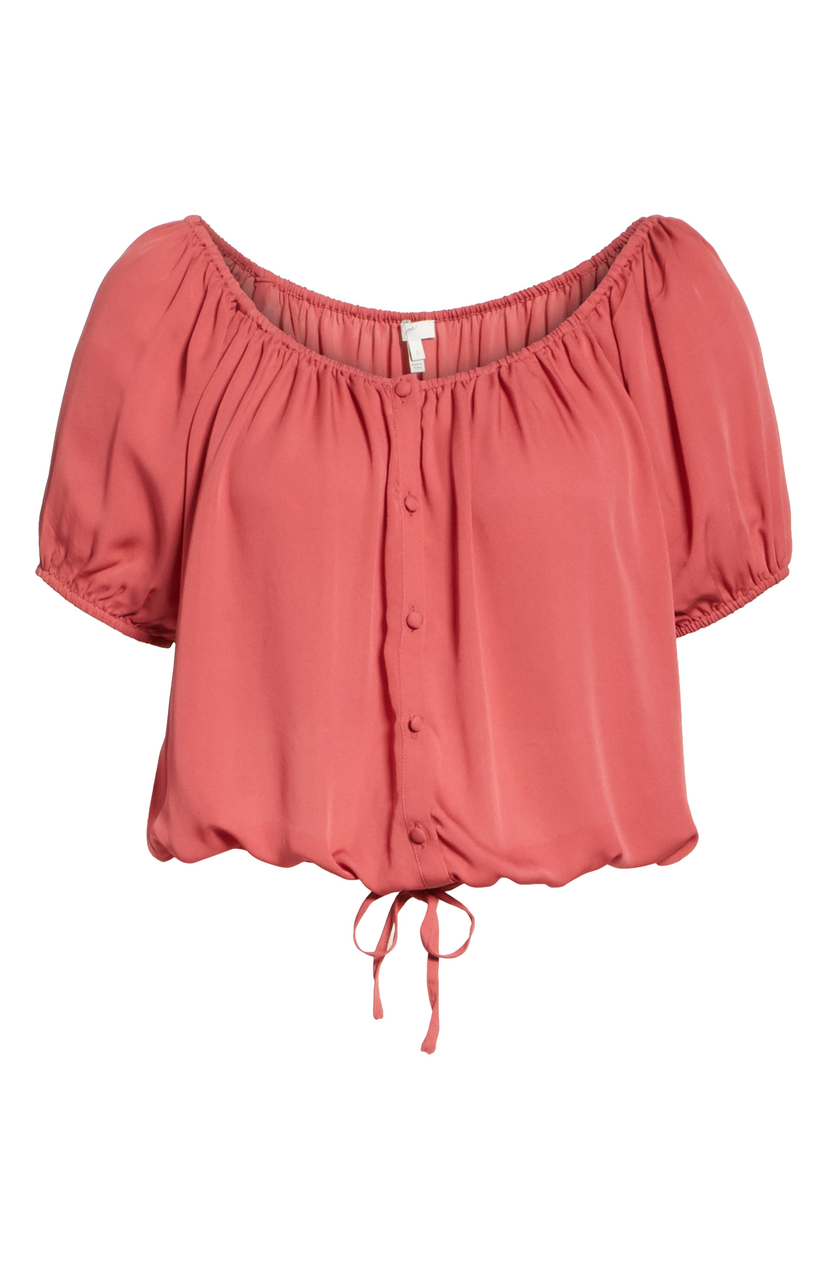 Blesina Tie Front Short Sleeve Silk Blouse,                             Alternate thumbnail 6, color,                             West Rose