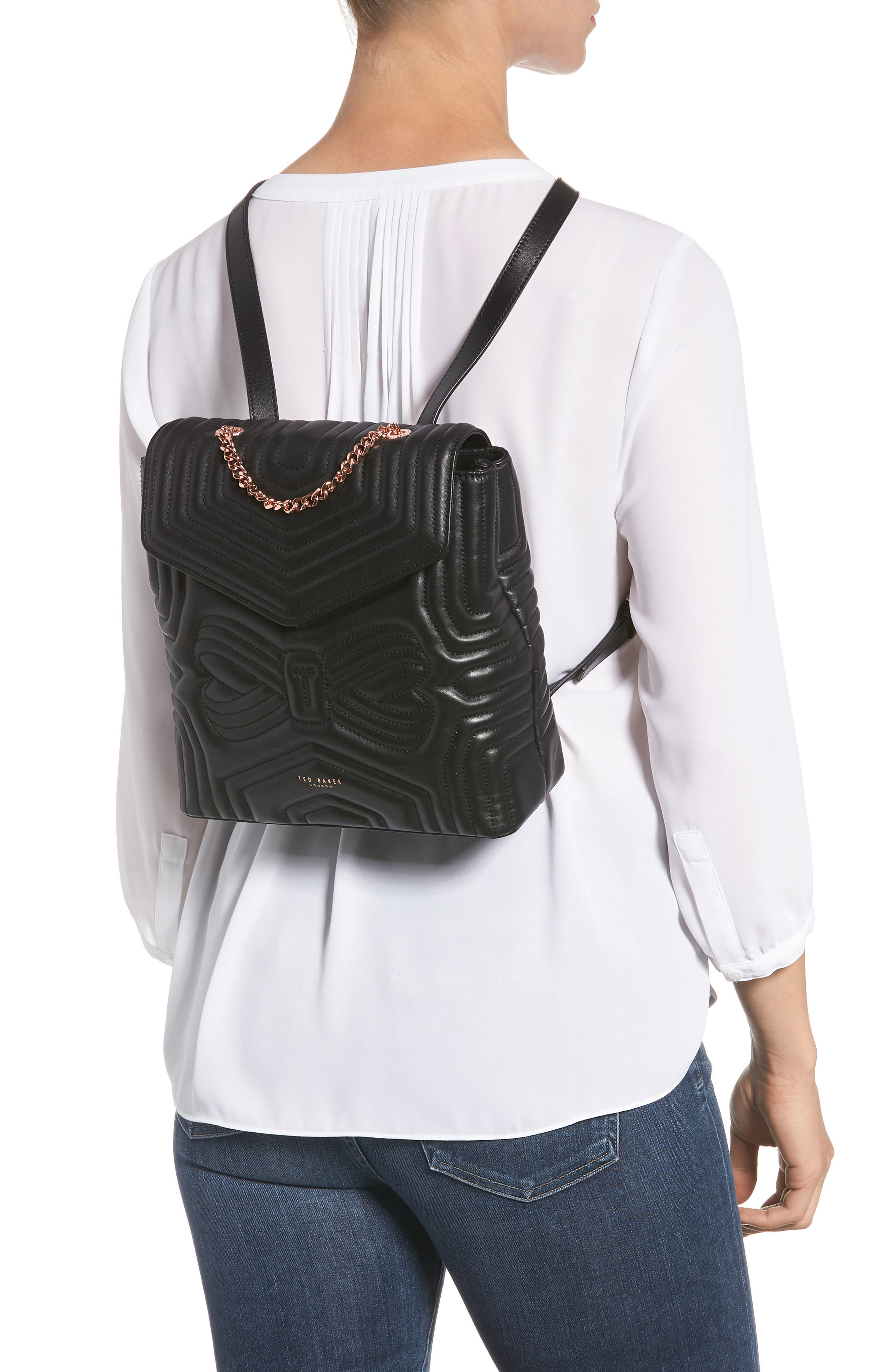 Quilted Bow Leather Backpack,                             Alternate thumbnail 2, color,                             Black