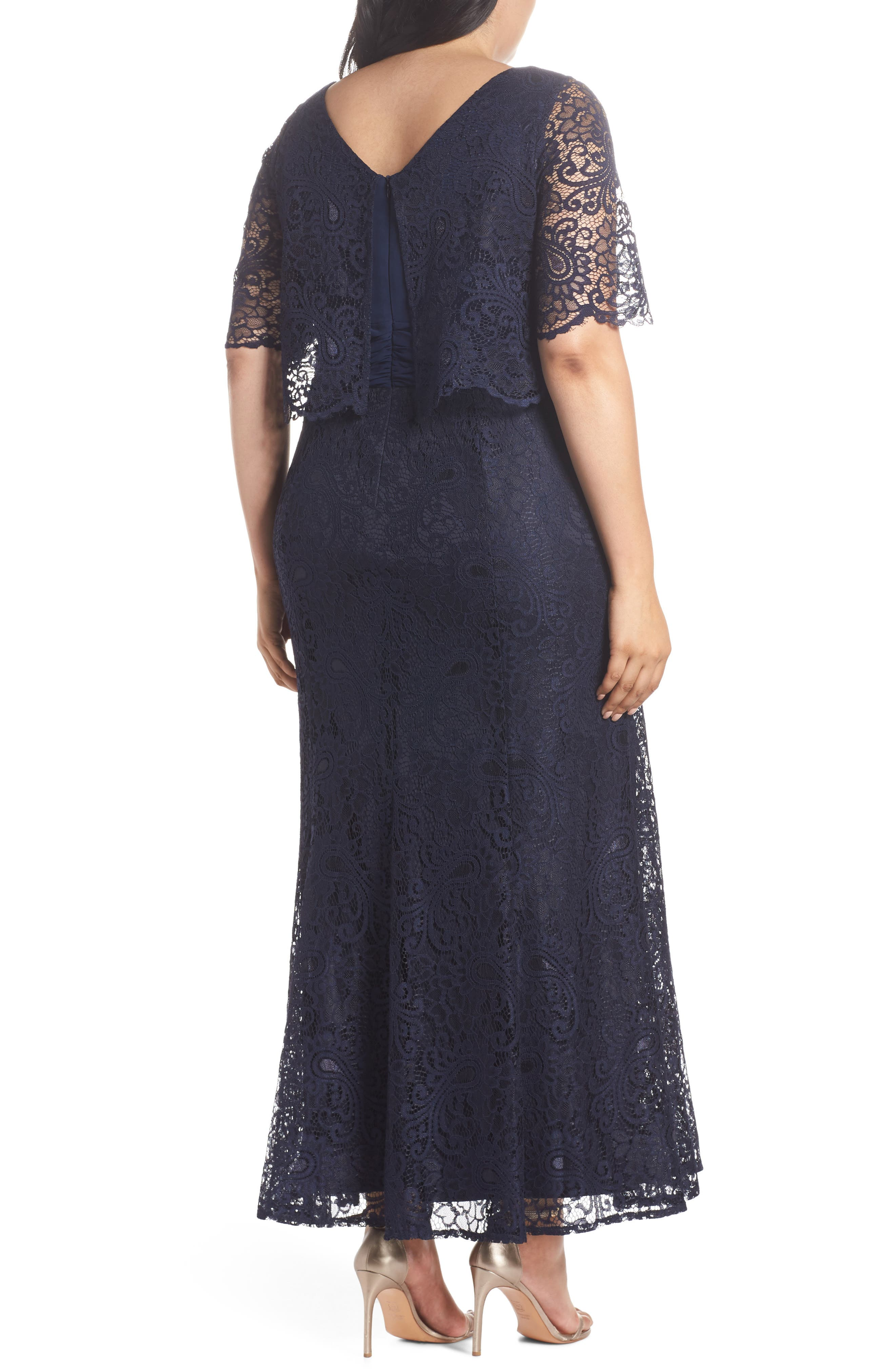 Mock Two-Piece Lace Gown,                             Alternate thumbnail 2, color,                             Navy