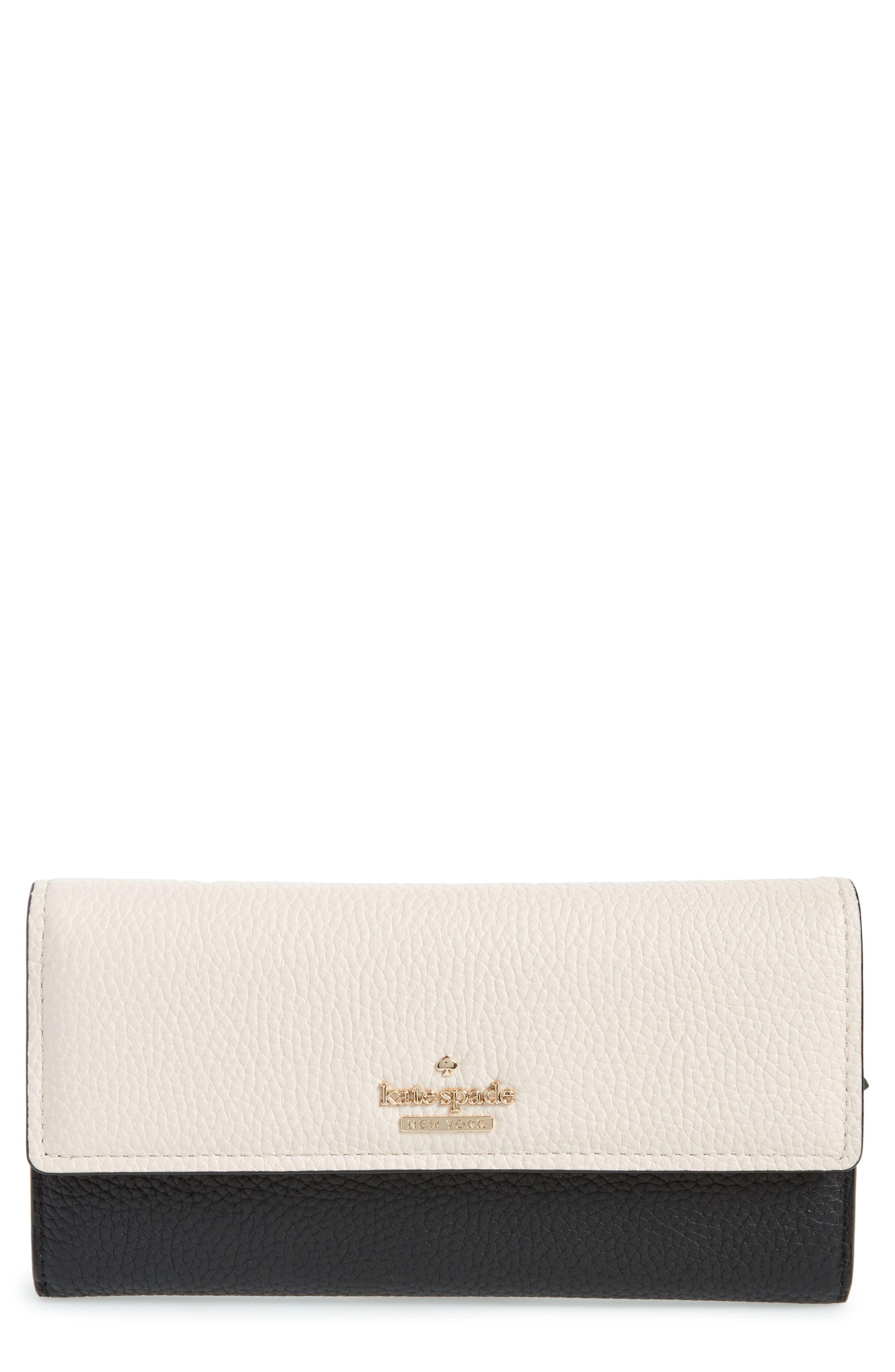 jackson street - kinsley leather wallet,                             Main thumbnail 1, color,                             Black/ Bleach Bone