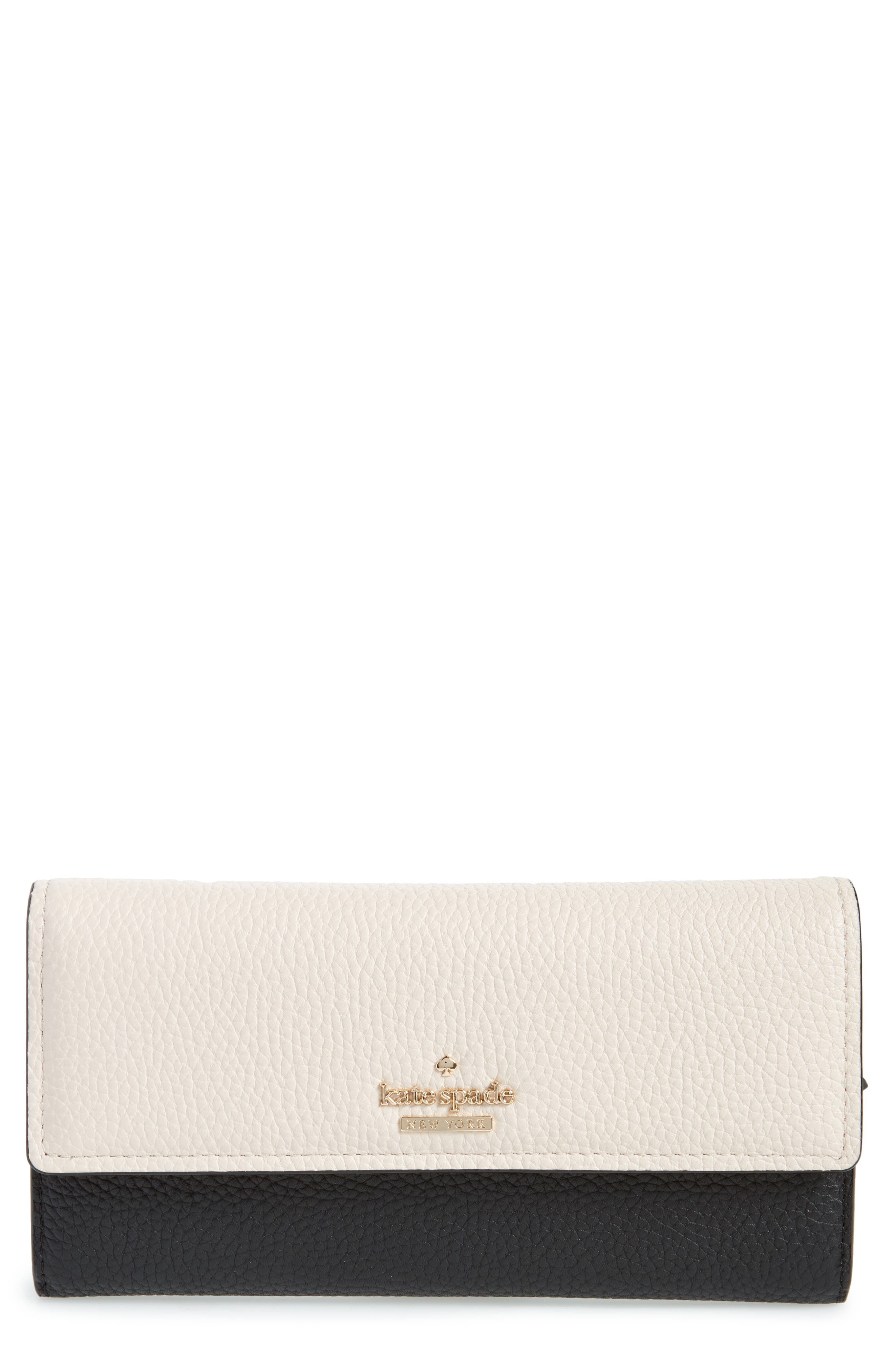 jackson street - kinsley leather wallet,                         Main,                         color, Black/ Bleach Bone