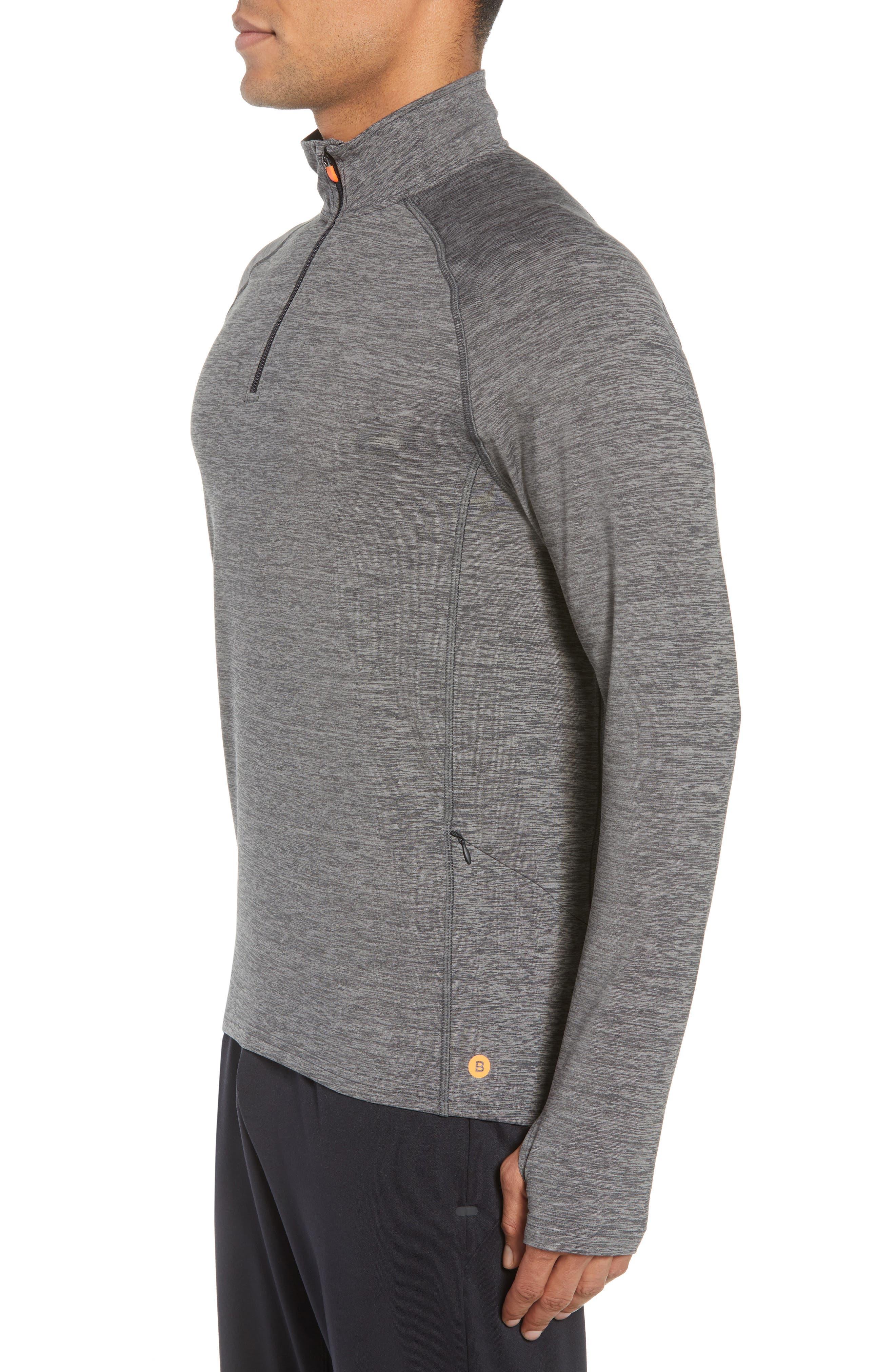 Core Half Zip Sweatshirt,                             Alternate thumbnail 3, color,                             Black Pepper Spacedye