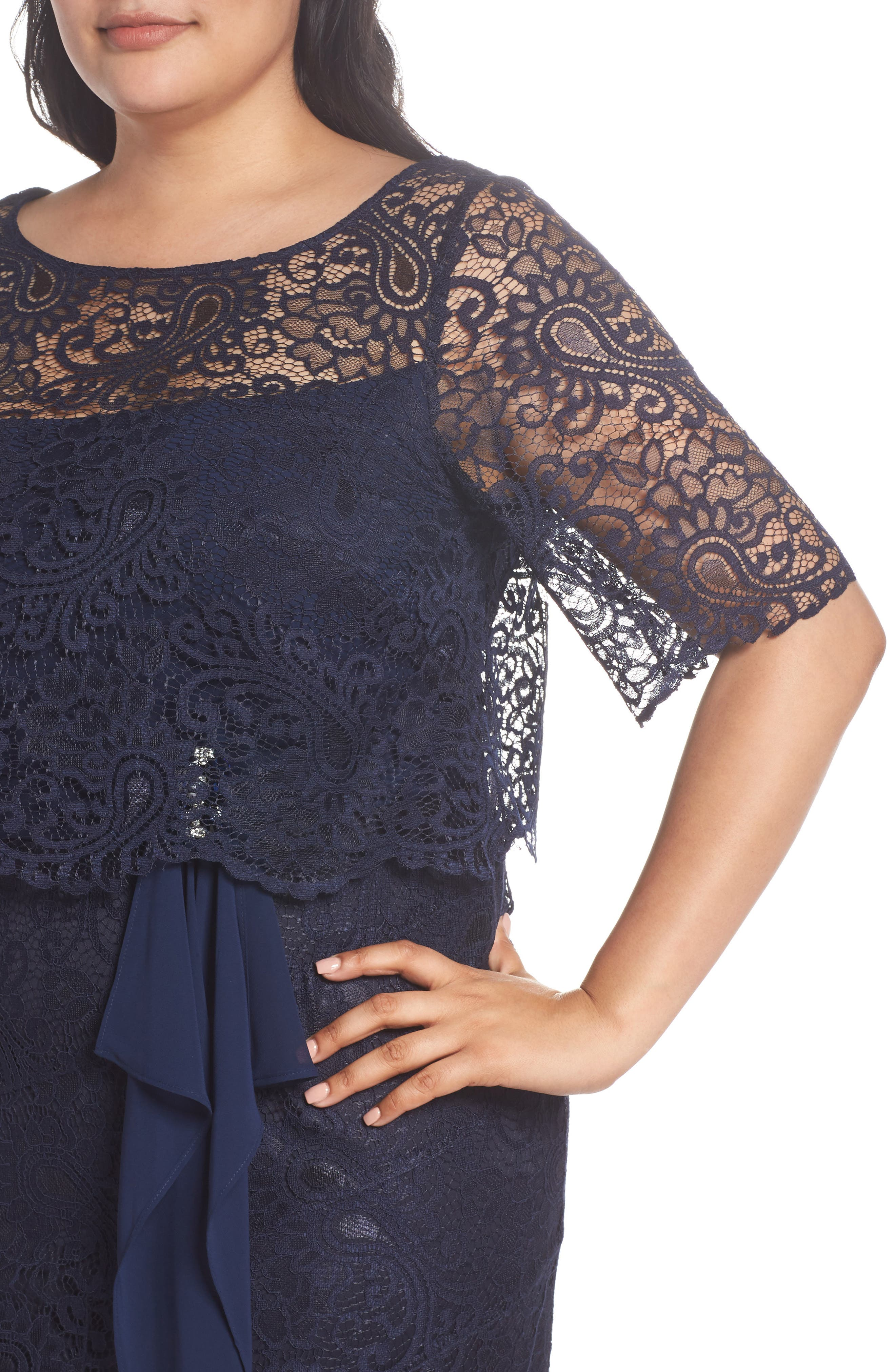 Mock Two-Piece Lace Gown,                             Alternate thumbnail 4, color,                             Navy