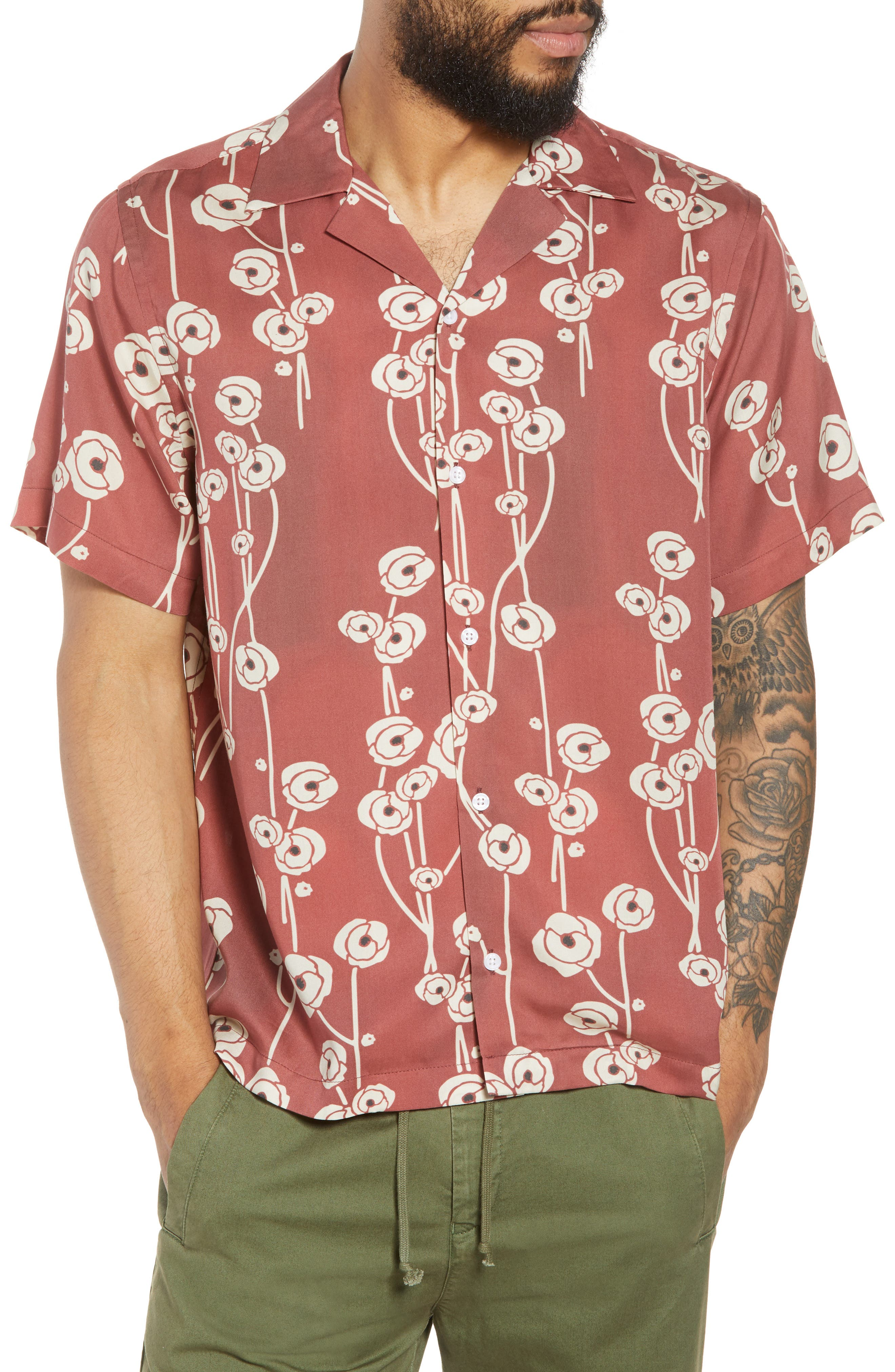 Canty Poppy Woven Shirt,                         Main,                         color, Brick