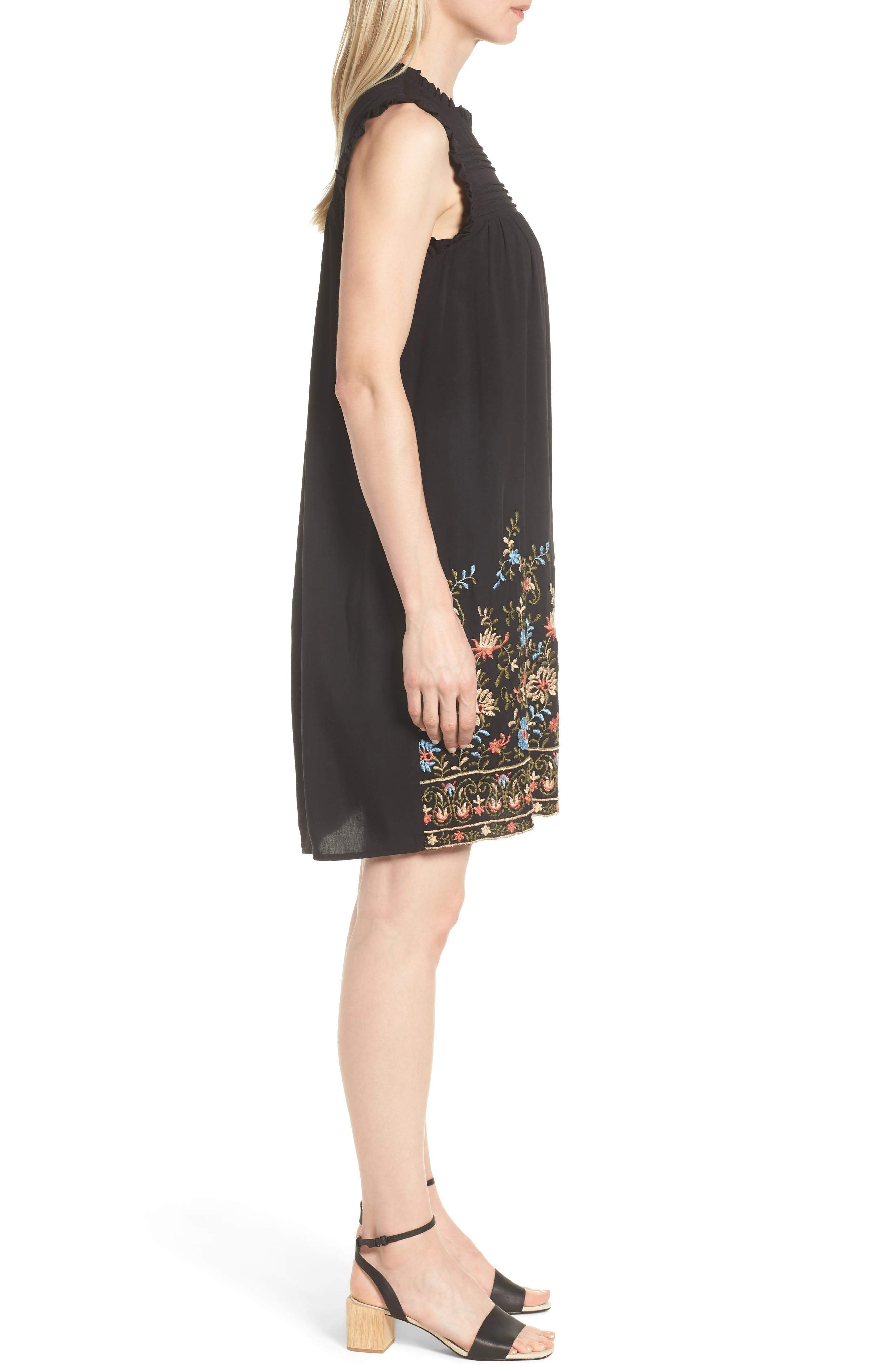 Pintuck Embroidered Shift Dress,                             Alternate thumbnail 3, color,                             Black Olive