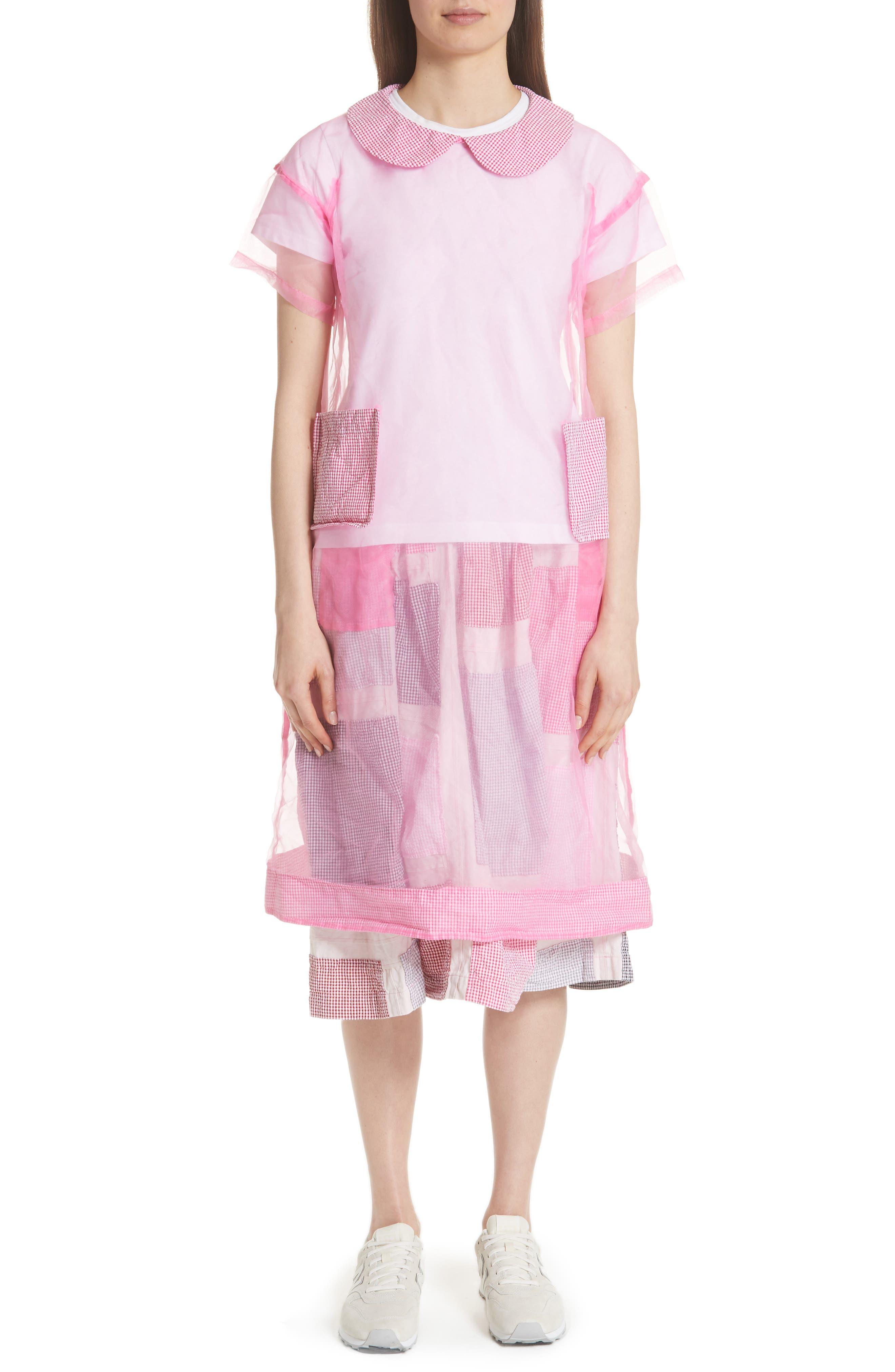 TRICOT COMME DES GARCONS SHEER GINGHAM TRIM SHIFT DRESS