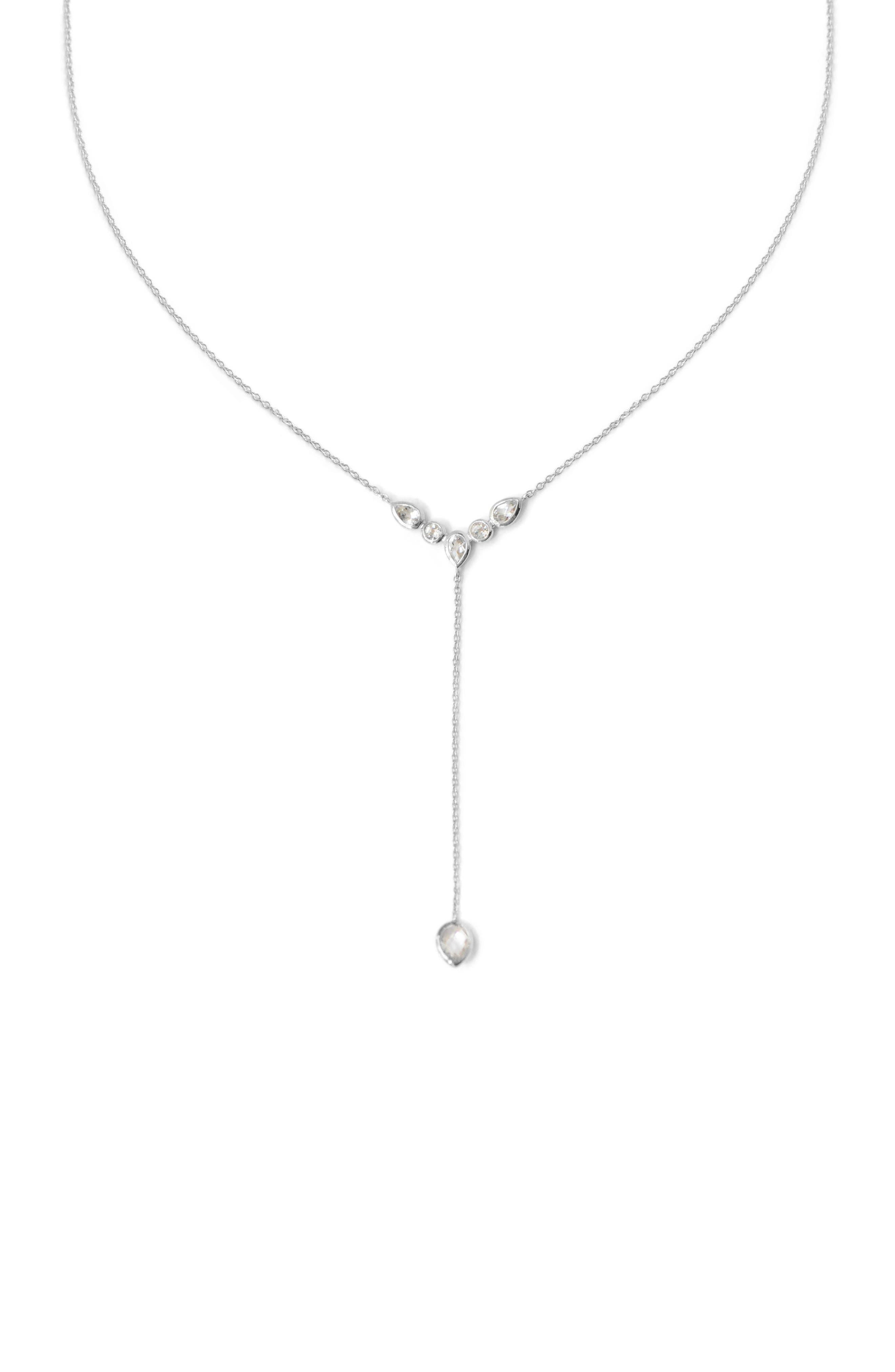 Classic White Topaz Y-Necklace,                             Main thumbnail 1, color,                             White Topaz