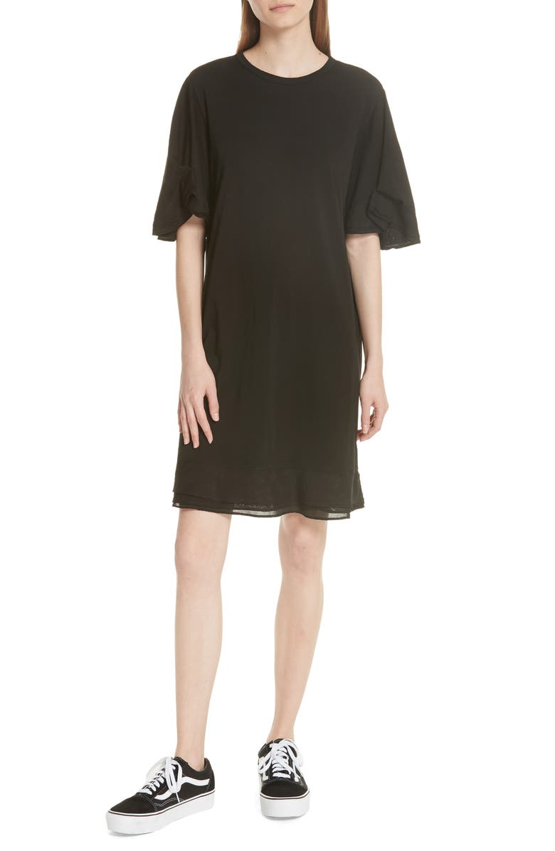 Silk Trim Folded Sleeve T-Shirt Dress