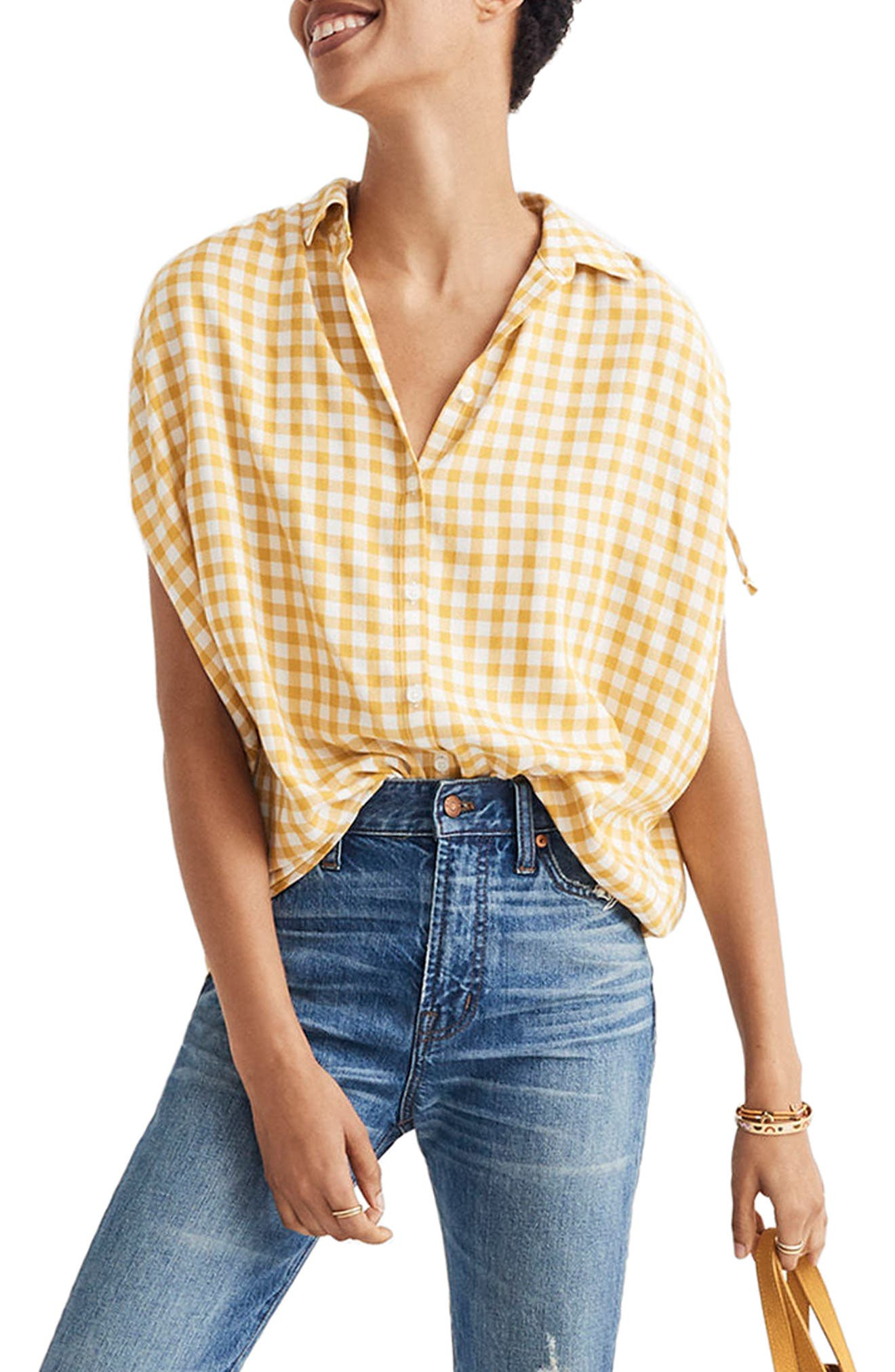 Central Ruched Sleeve Shirt,                             Main thumbnail 1, color,                             Celestial Gold