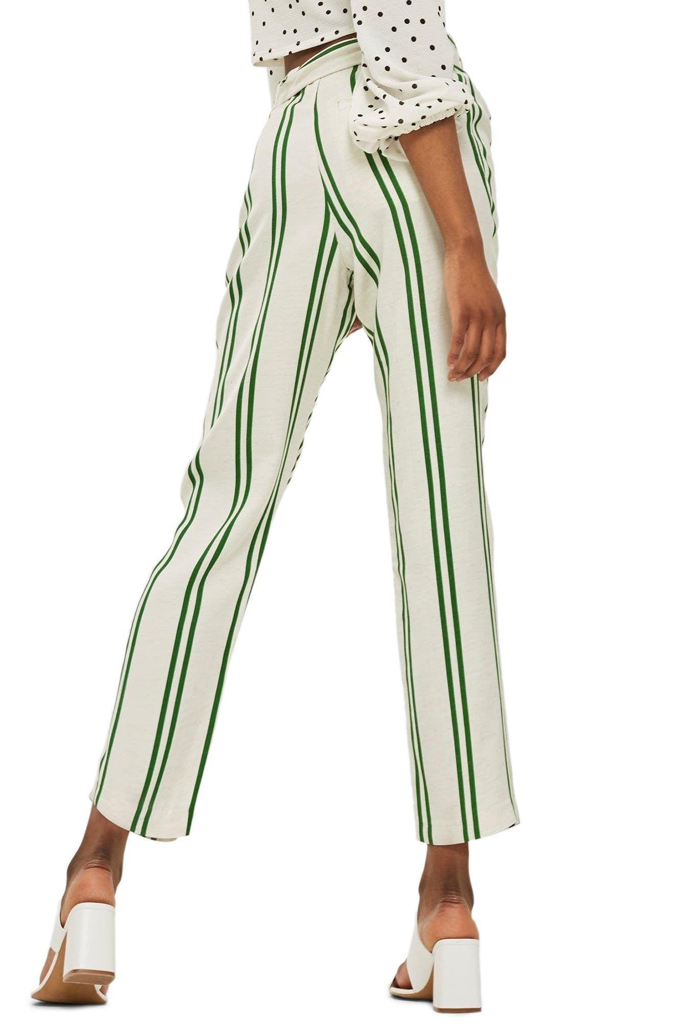 Dolly Stripe Tapered Trousers,                             Alternate thumbnail 2, color,                             Green Multi