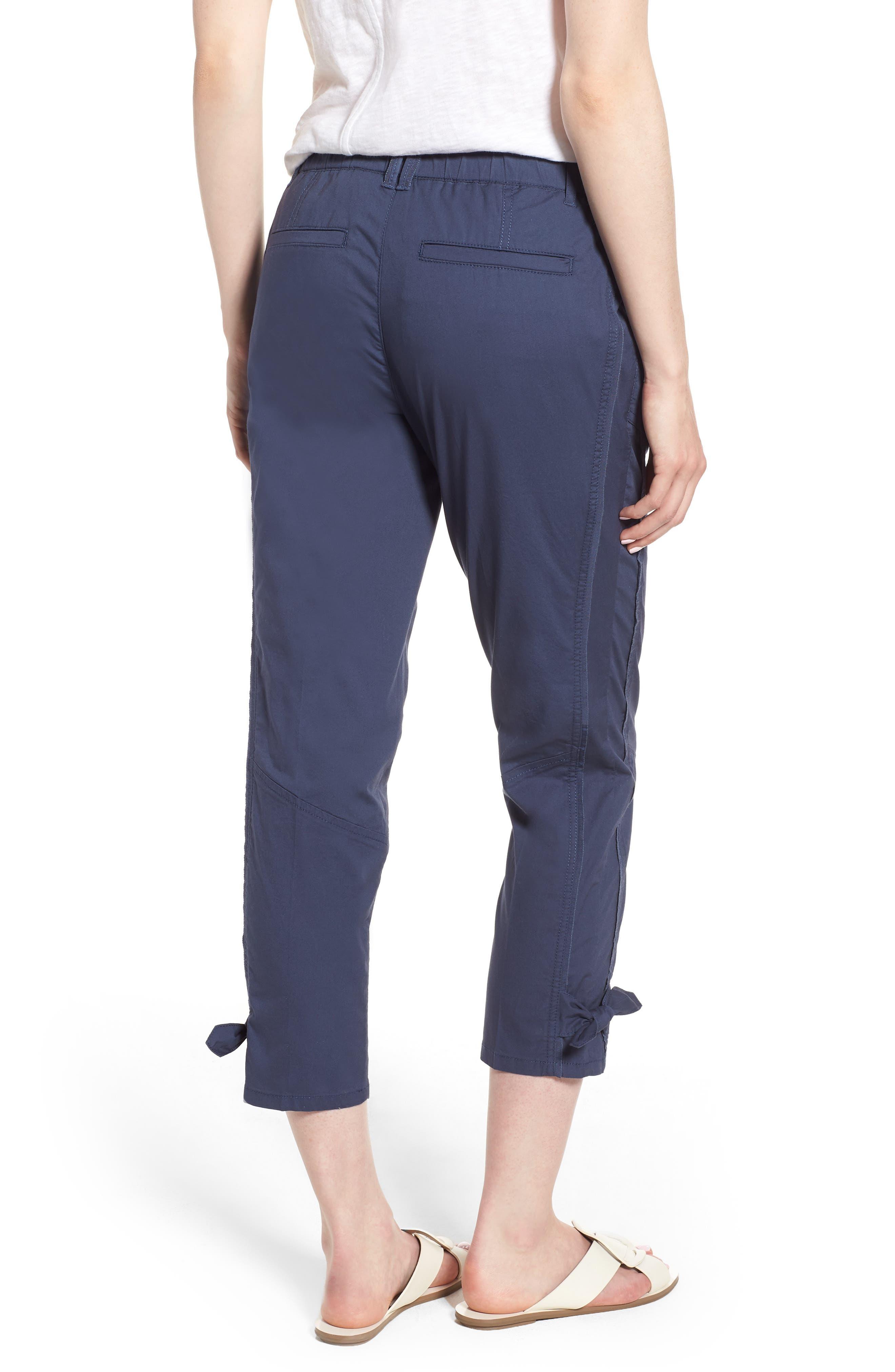 Tie Cuff Stretch Cotton Crop Pants,                             Alternate thumbnail 2, color,                             Ensign Blue