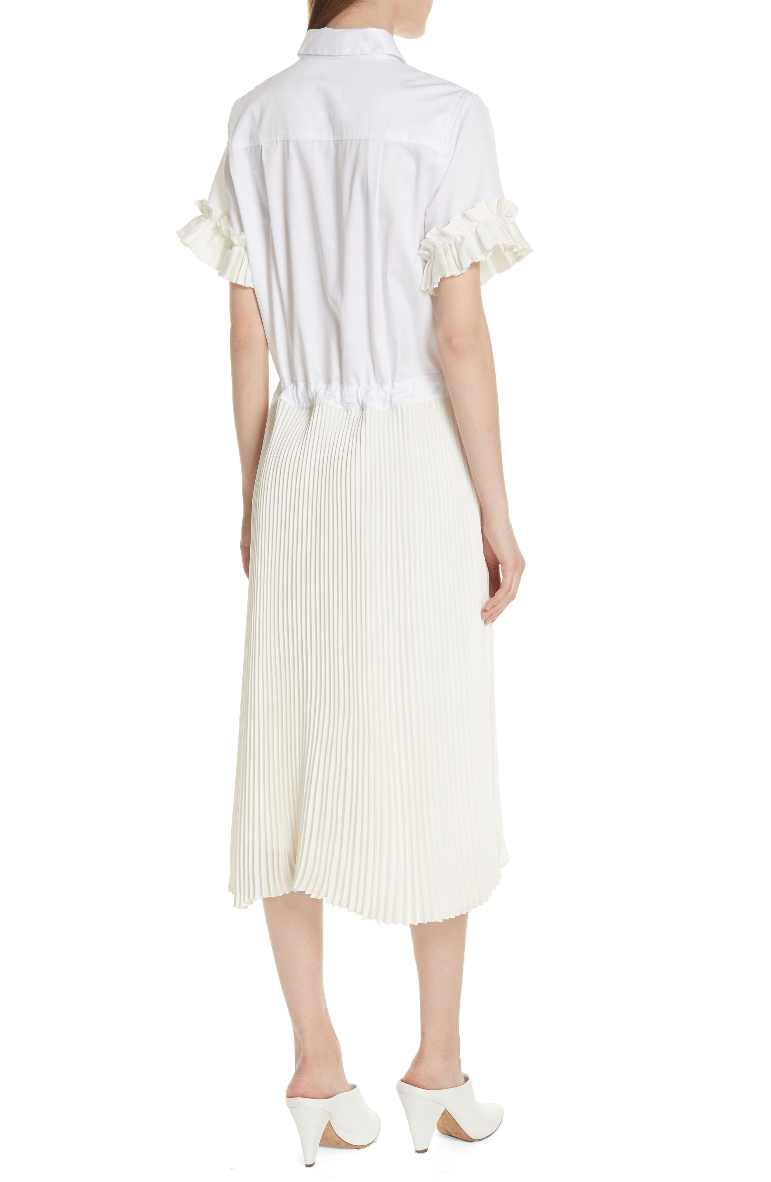 Pleat Midi Shirtdress,                             Alternate thumbnail 2, color,                             White